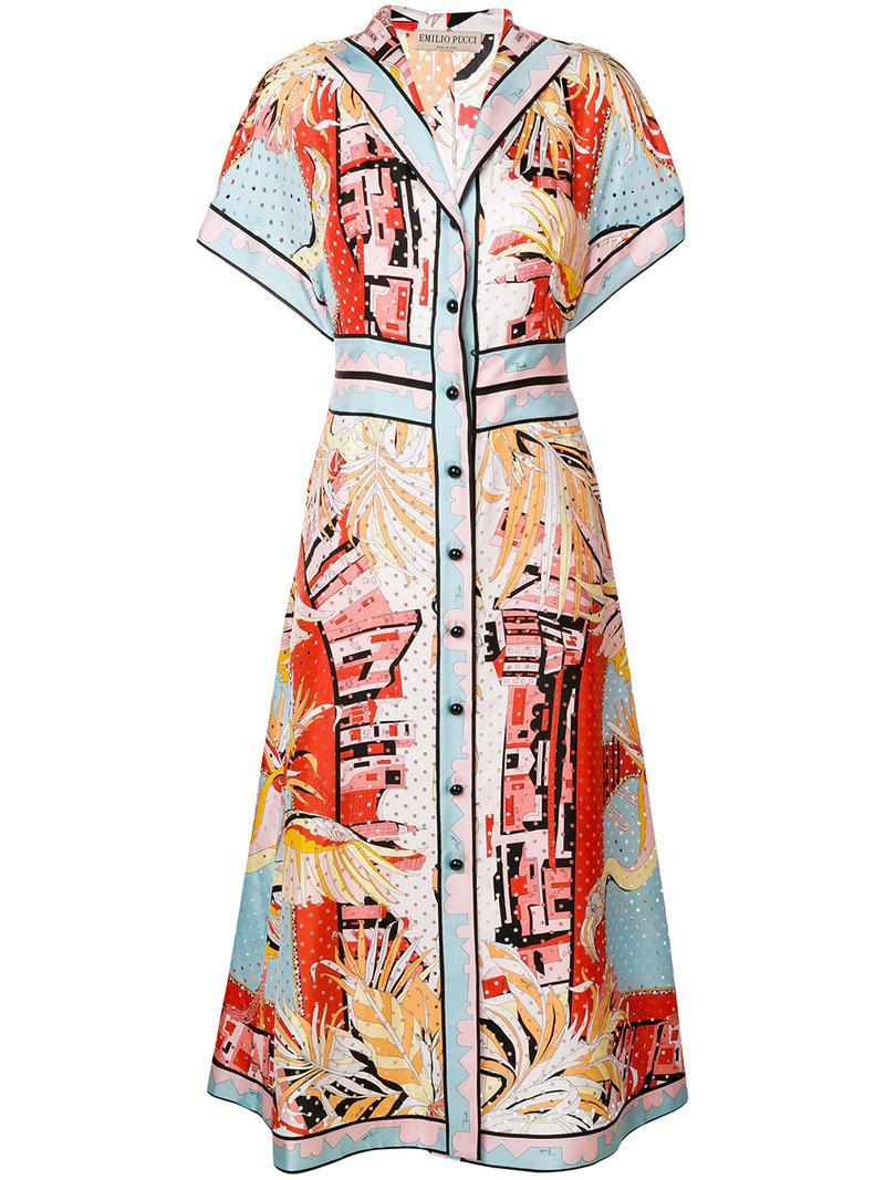 Emilio Pucci printed midi shirt dress Outlet Best Sale SBFZ9Hz
