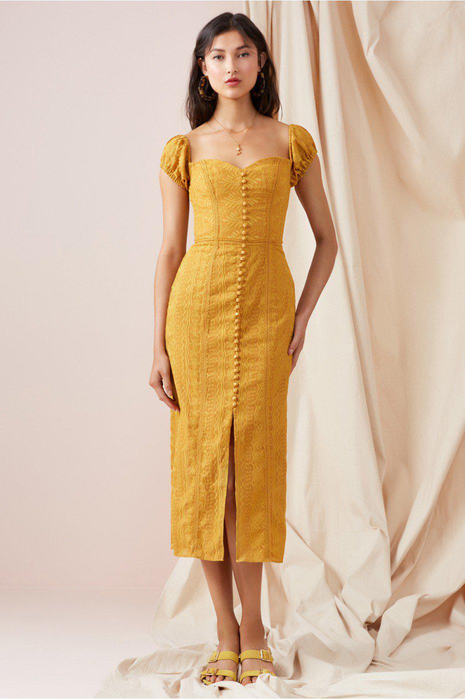 d68e30bb24 Finders Keepers Maella Midi Dress in Yellow - Lyst
