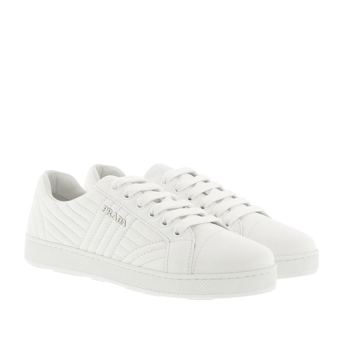 Chaussures De Sport - Chaussures De Sport Matelassée Avec Logo En Cuir Blanc - Chaussures De Sport Pour Dames Prada - Blanc HTSER
