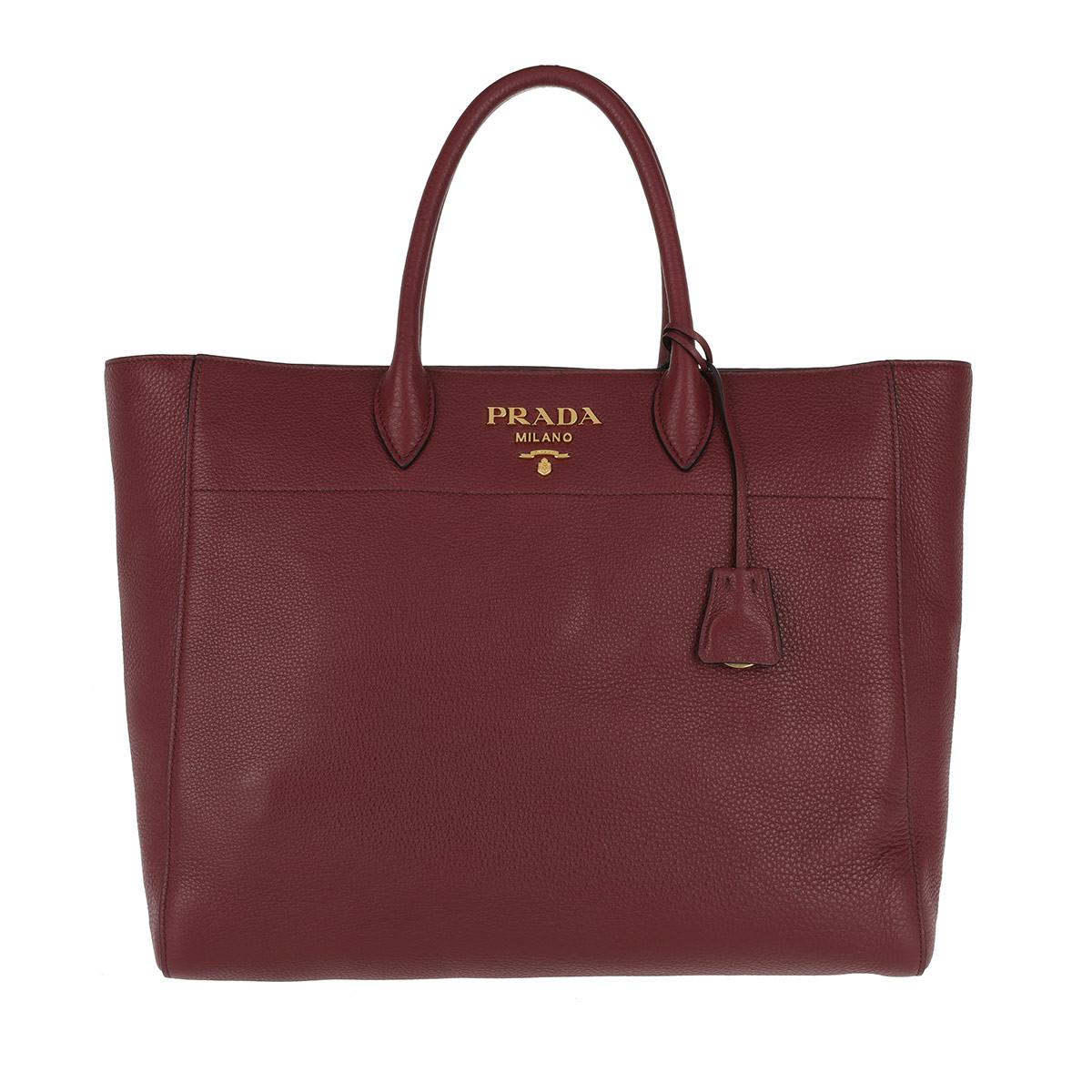 9edcca4219a1 Prada Shopping Bag Saffiano Leather Cerise in Red - Lyst