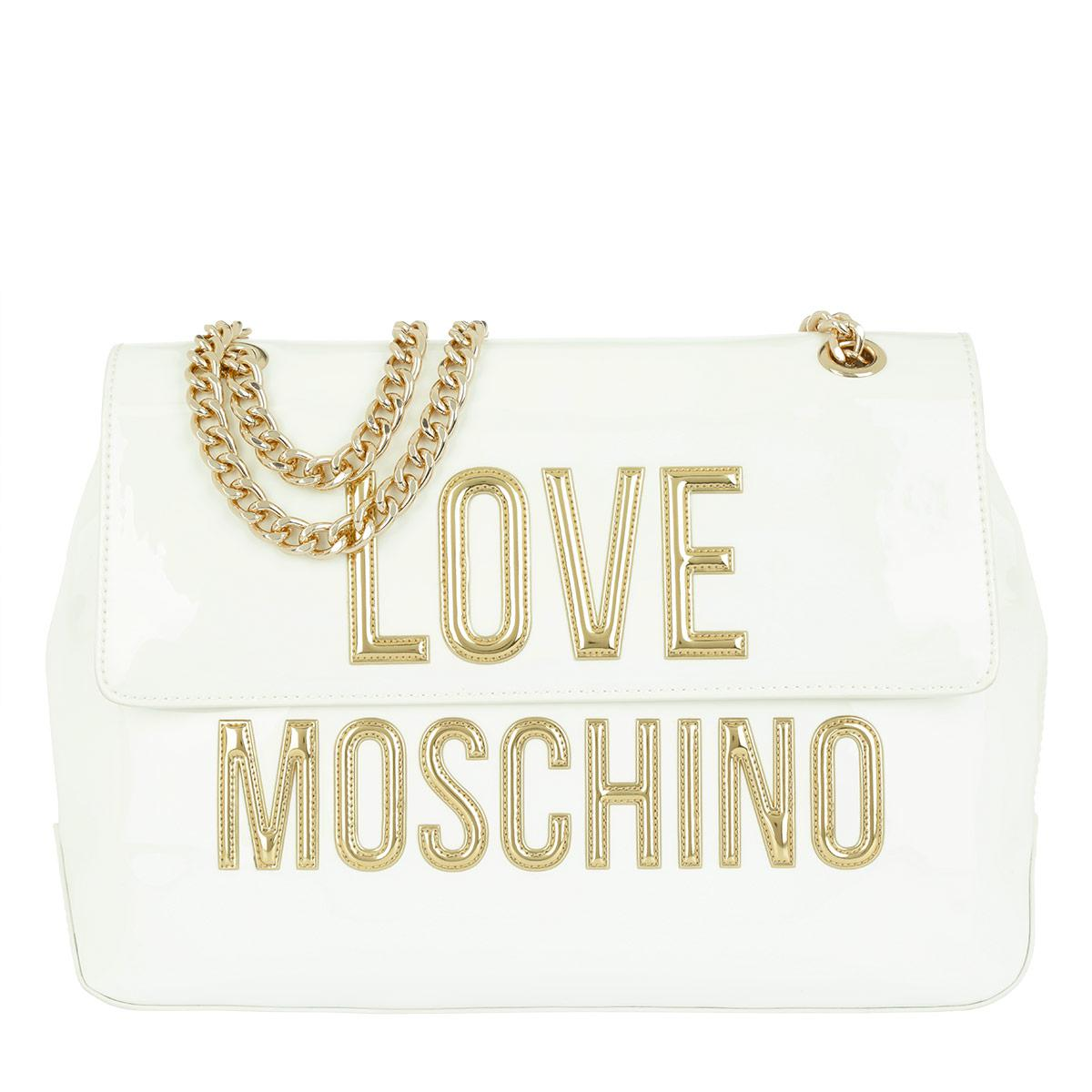 2bb10fa0799 Love Moschino Patent Pu Satchel Bag Bianco - Lyst