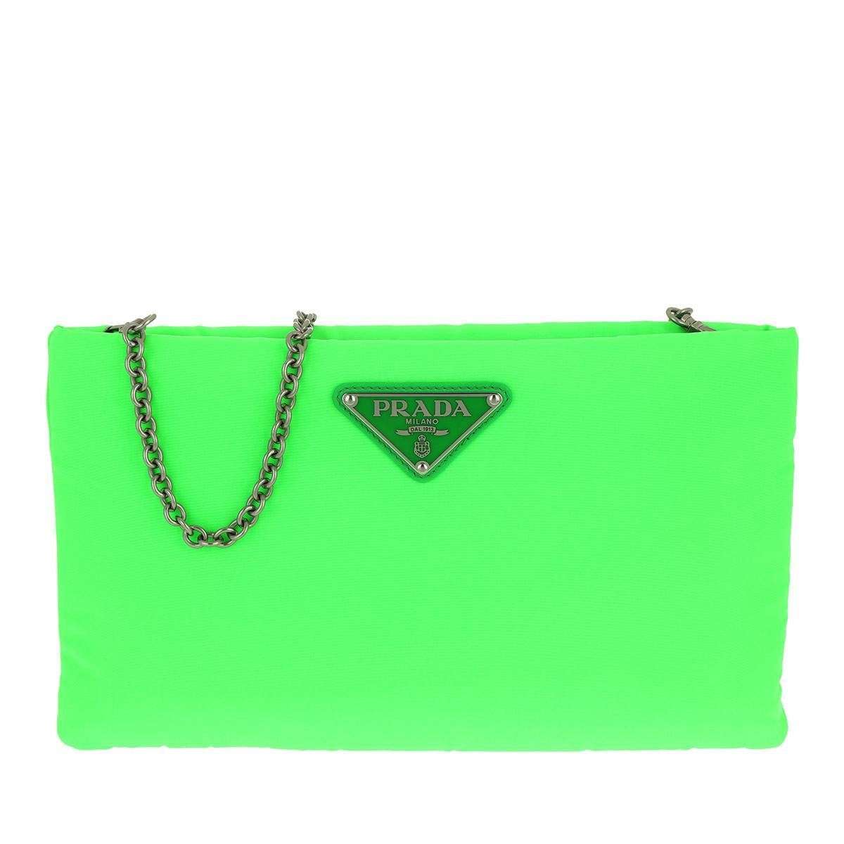 bc463dad6c33f2 Prada Clutch Padded Nylon 2 Neon Green in Green - Lyst
