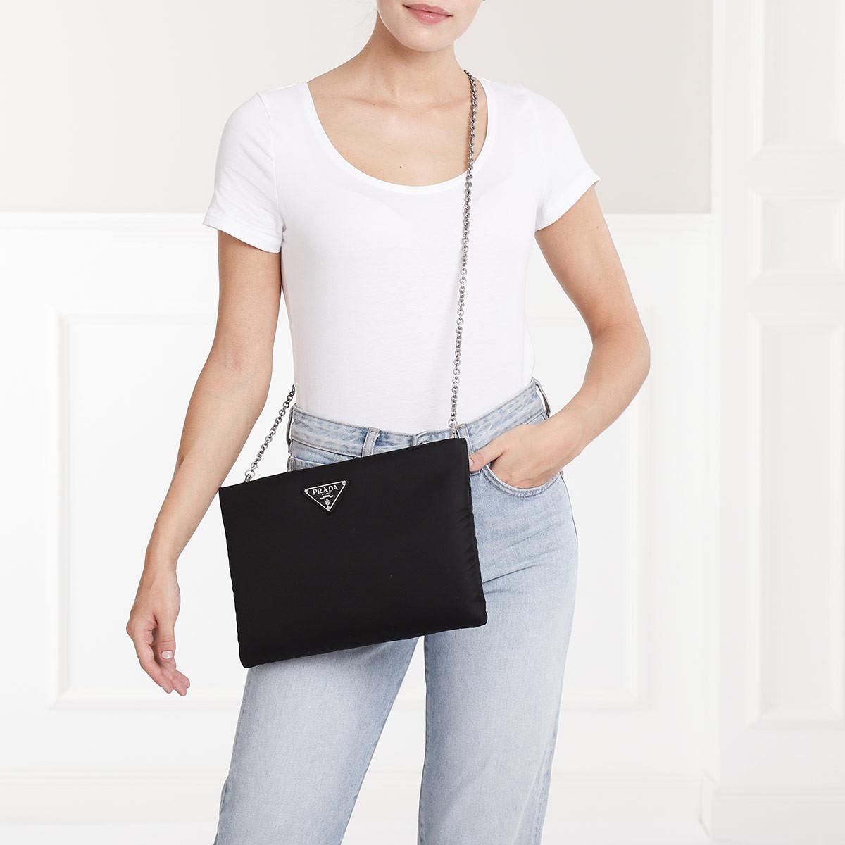 d18f16230f45 Prada - Black Medium Padded Nylon Clutch - Lyst. View fullscreen