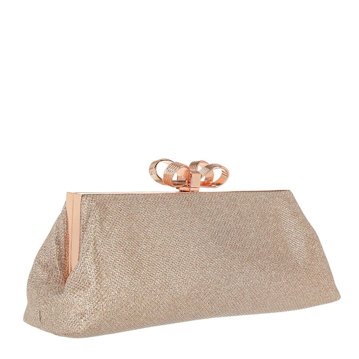 25ab216c0 Ted Baker Iirene Glitter Bow Evening Bag Rosegold - Lyst