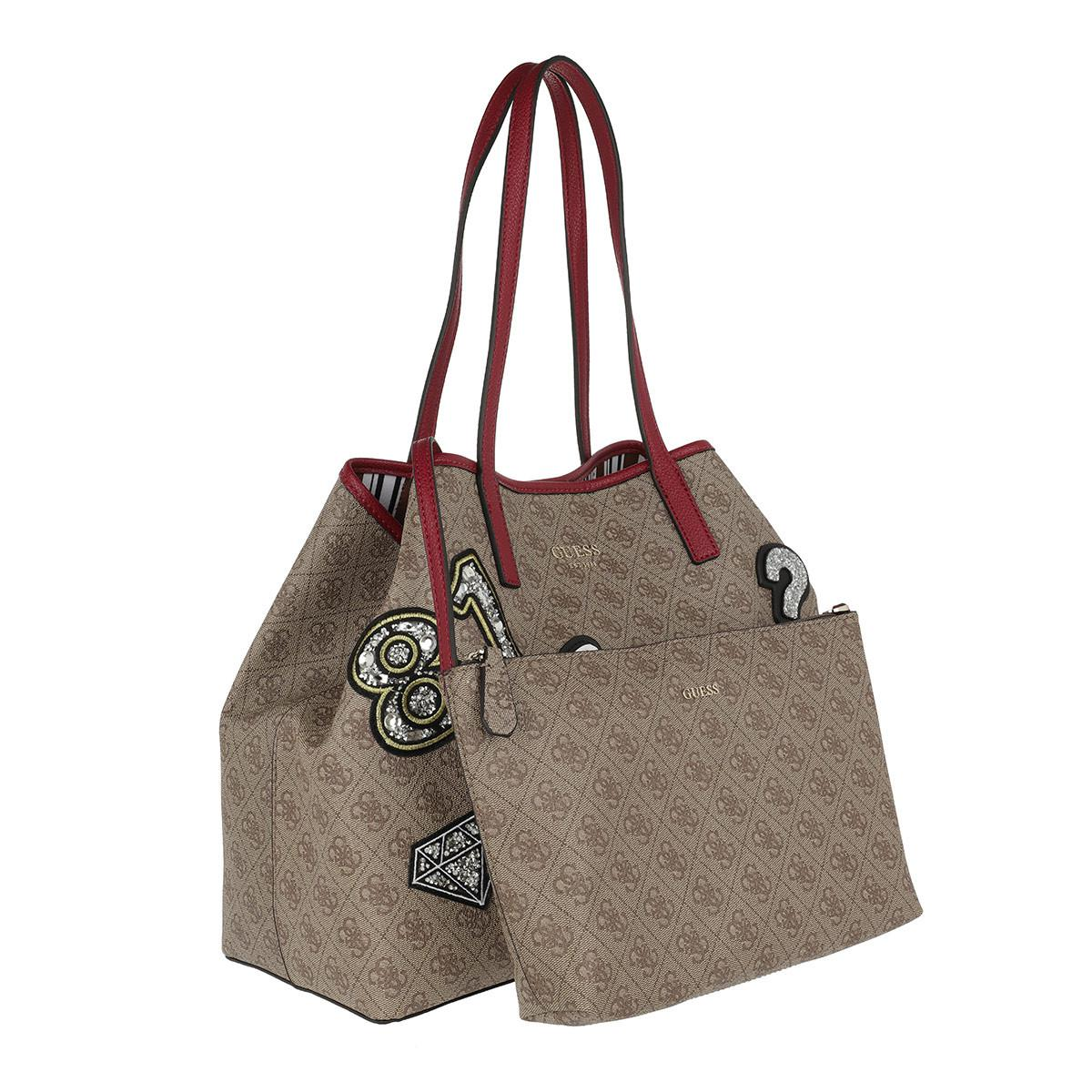 62b370b4f45 Guess Vikky Large Tote Brown Multi in Brown - Lyst