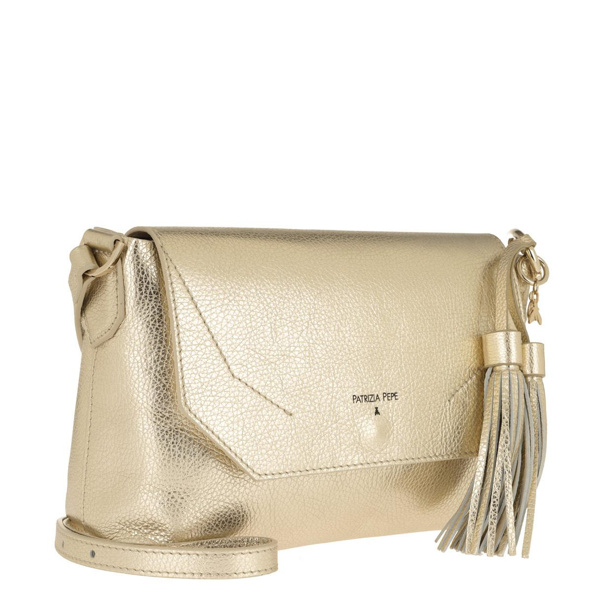 9ef160e812 Patrizia Pepe Flap Crossbody Bag Platinum moon Sand in Natural - Lyst