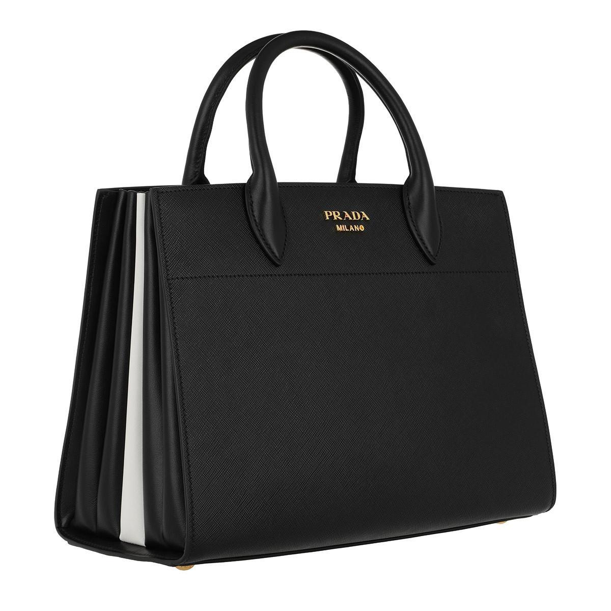 5622b6c09e Prada Tote Saffiano City Calf Leather Nero bianco in Black - Lyst