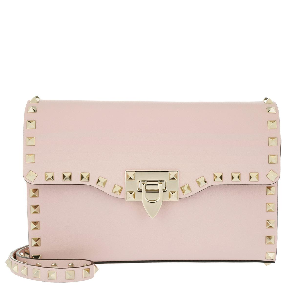 Rockstud Mini Saddle Bag in Water Rose Smooth Calf Valentino