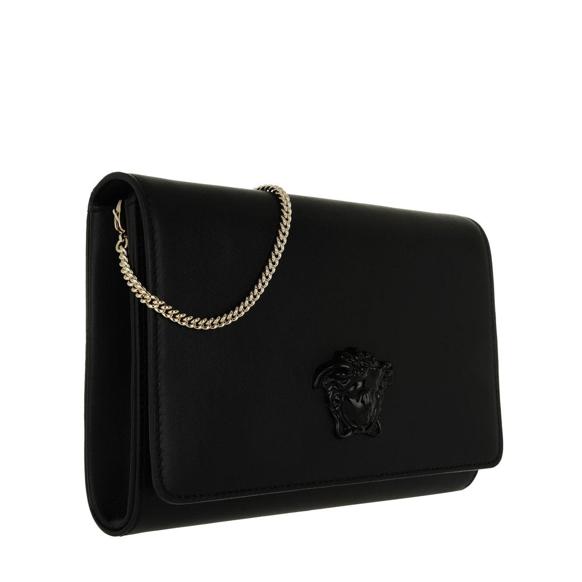 918b0b4b0db3 Versace Clutch Sera Nappa Black light Gold in Black - Lyst