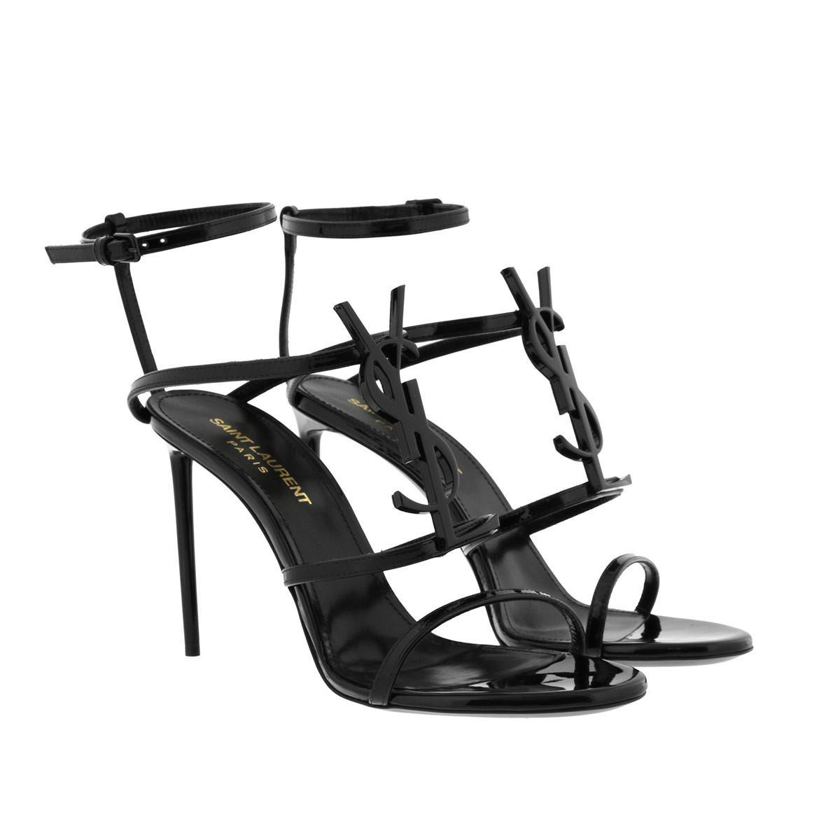 a9d5cd2b1 Saint Laurent Cassandra Sandals Patent Noir in Black - Lyst