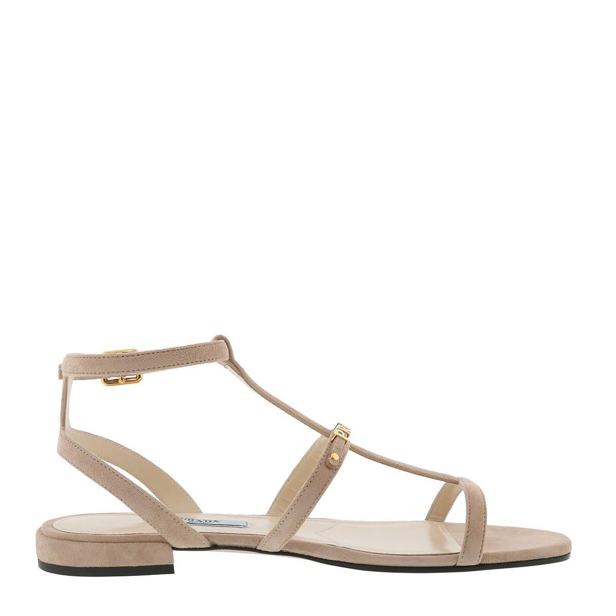 4de7f80bf830 Prada Flat Sandals Camoscio Goat Skin Nude in Natural - Lyst