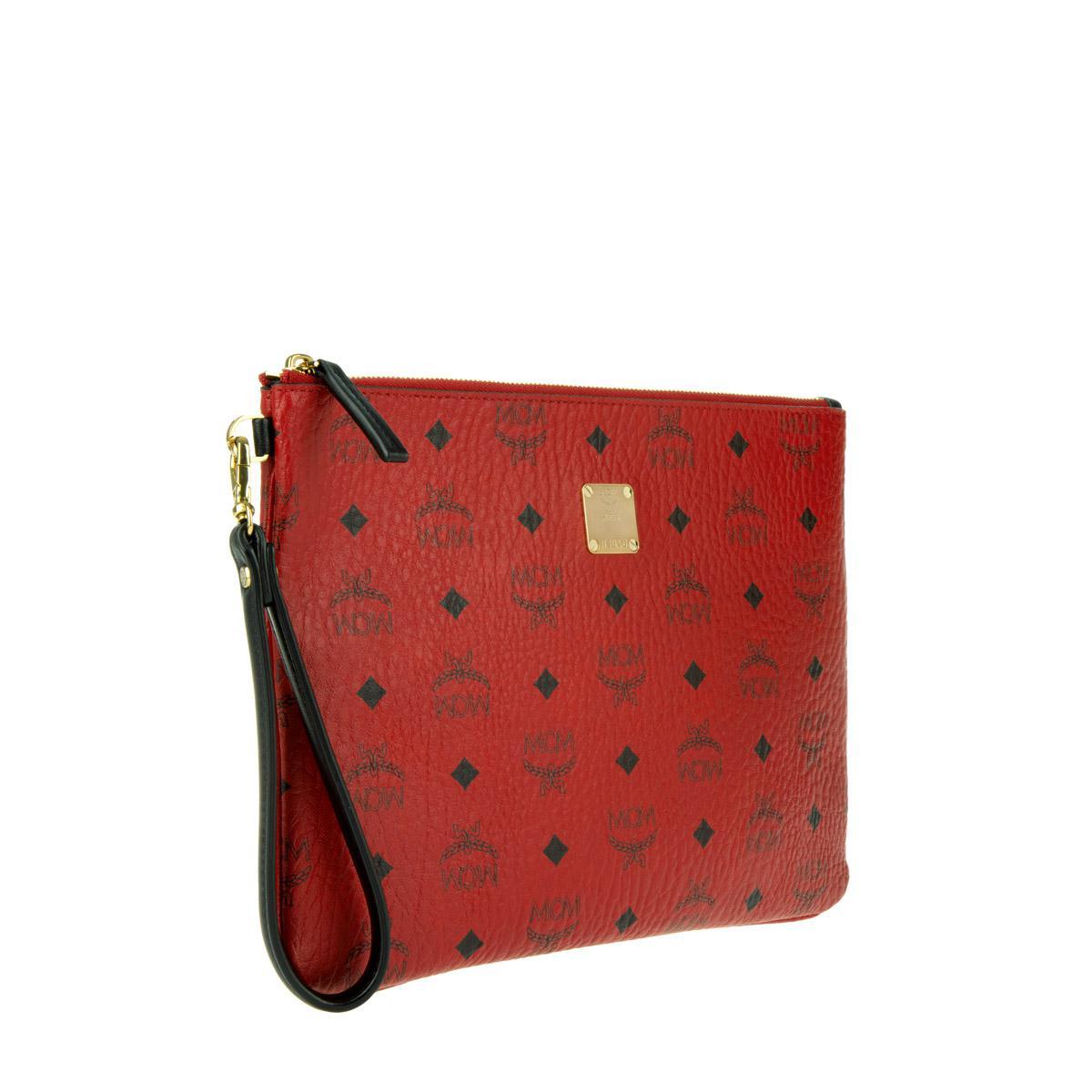 54c2d13210fc9 MCM Stark Top Zip Medium Pouch Ipad Bag Red in Red - Lyst