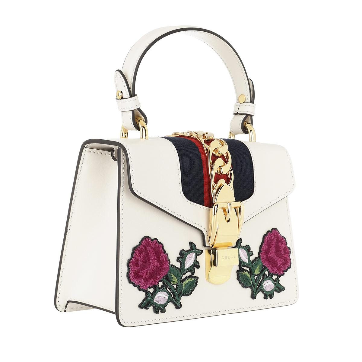 d0c74702af0 Gucci Sylvie Embroidered Mini Bag White multi in White - Save 20% - Lyst