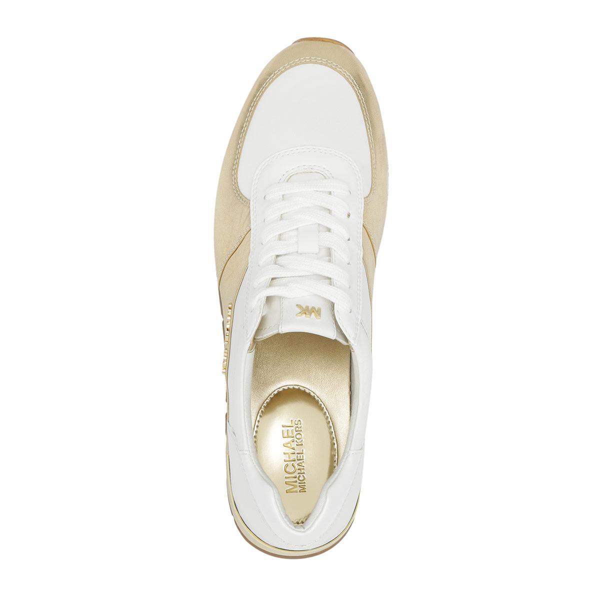1c79ca0de1d4 Michael Kors Allie Wrap Trainer Sneaker Leather Pale Gold white in ...