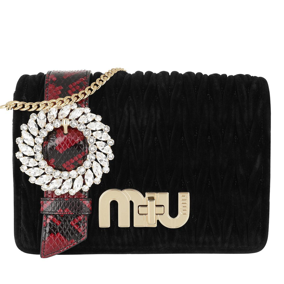 35f1c393977 Miu Miu My Miu Matelassé Velvet Group Black red in Black - Lyst