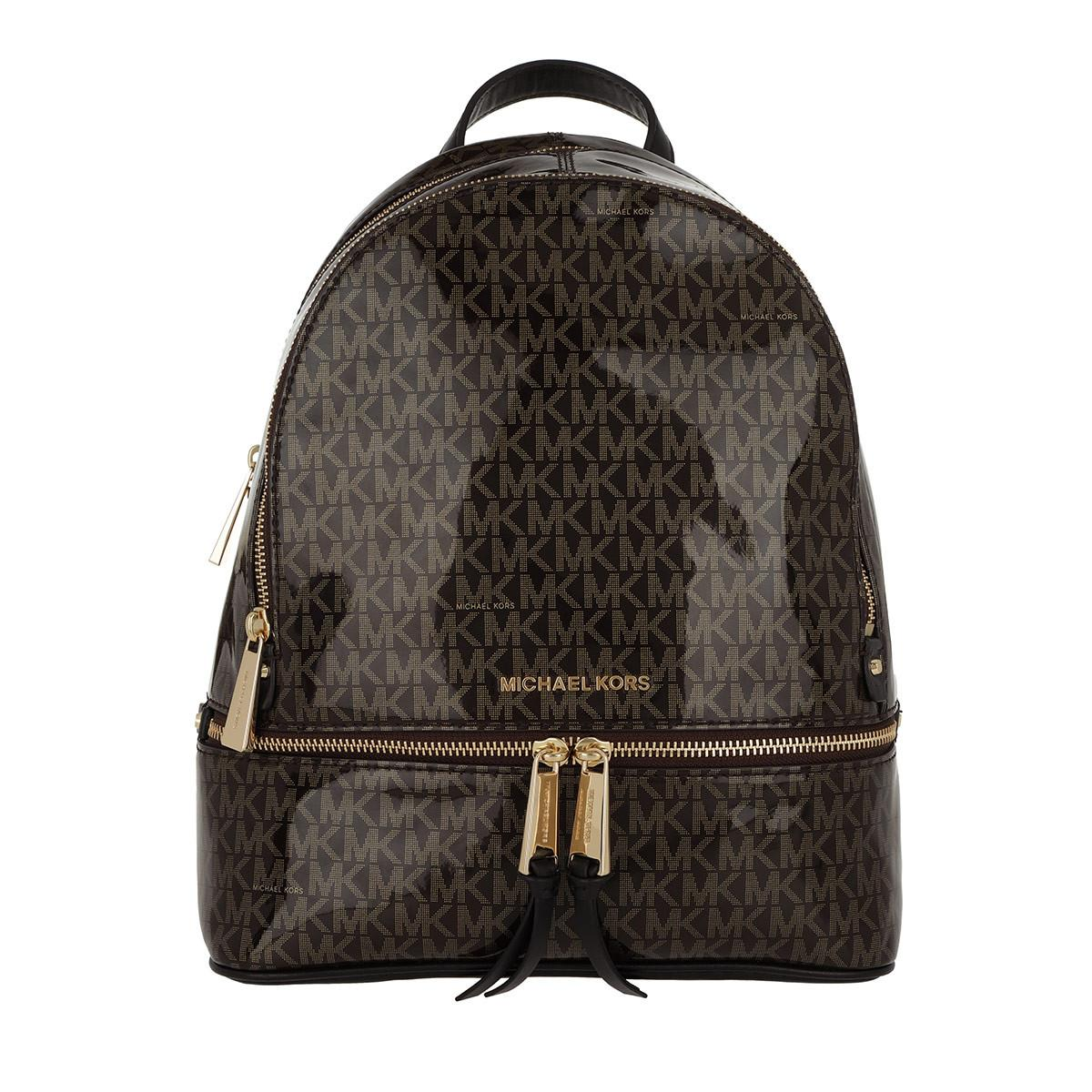 Michael Kors - Rhea Zip Md Backpack Brown gold - Lyst. View fullscreen 6c5be1477c