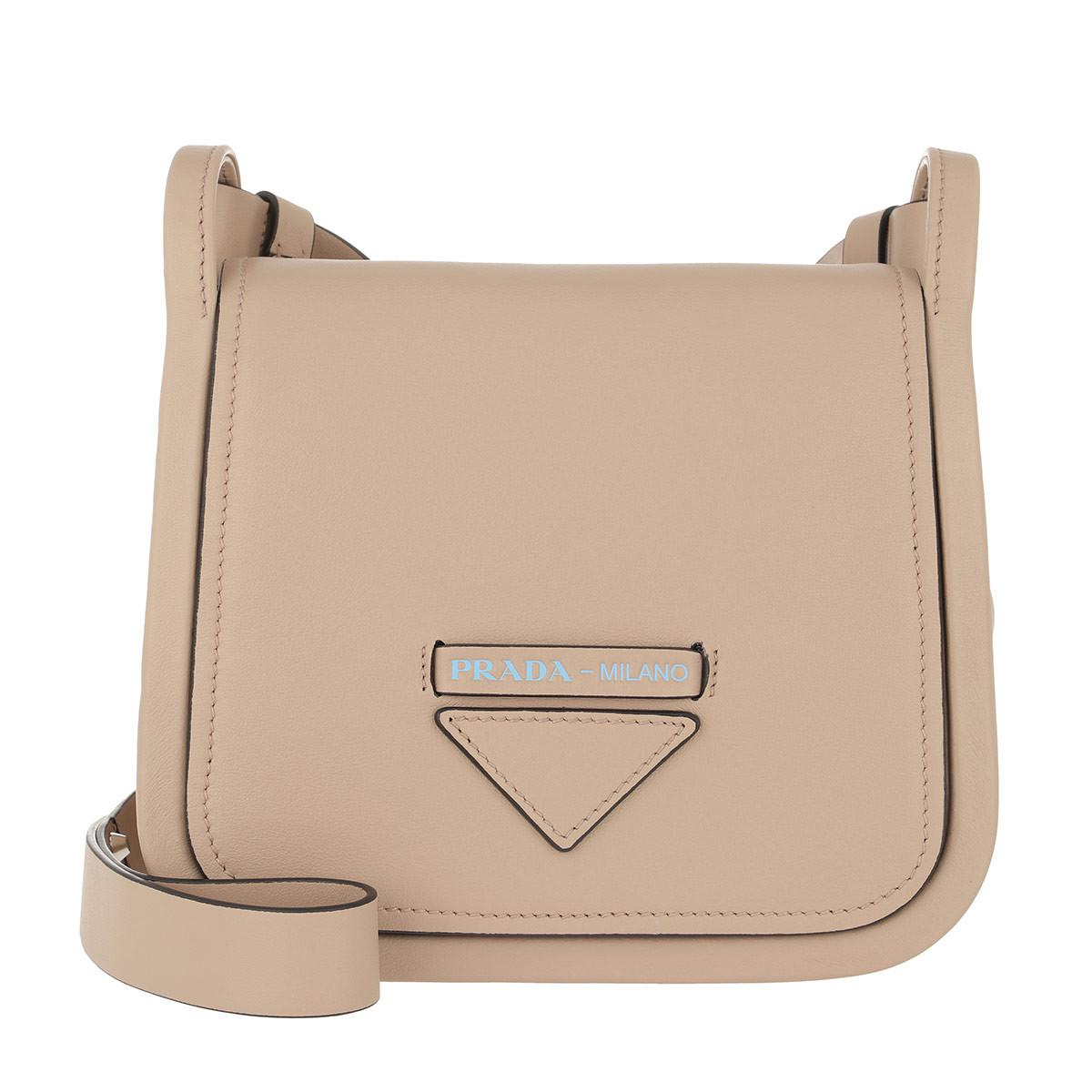 050815d813e7 Prada Crossbody Bag With Logo Leather Cammeo in Natural - Lyst