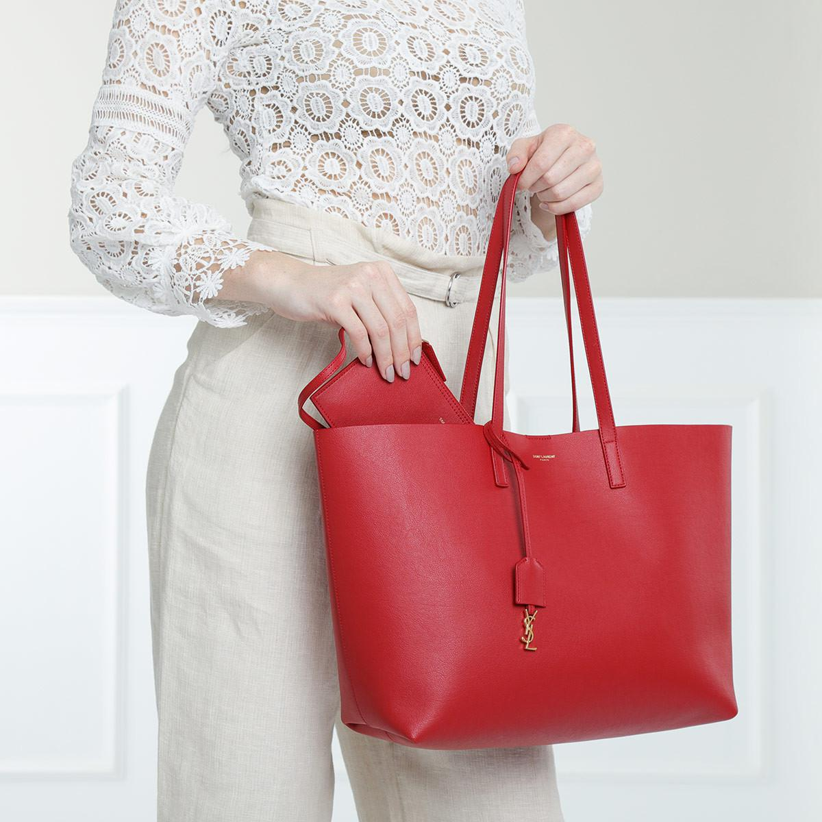 ab8373eff7b Saint Laurent Ysl Large Shopping Bag Rouge Eros in Red - Lyst