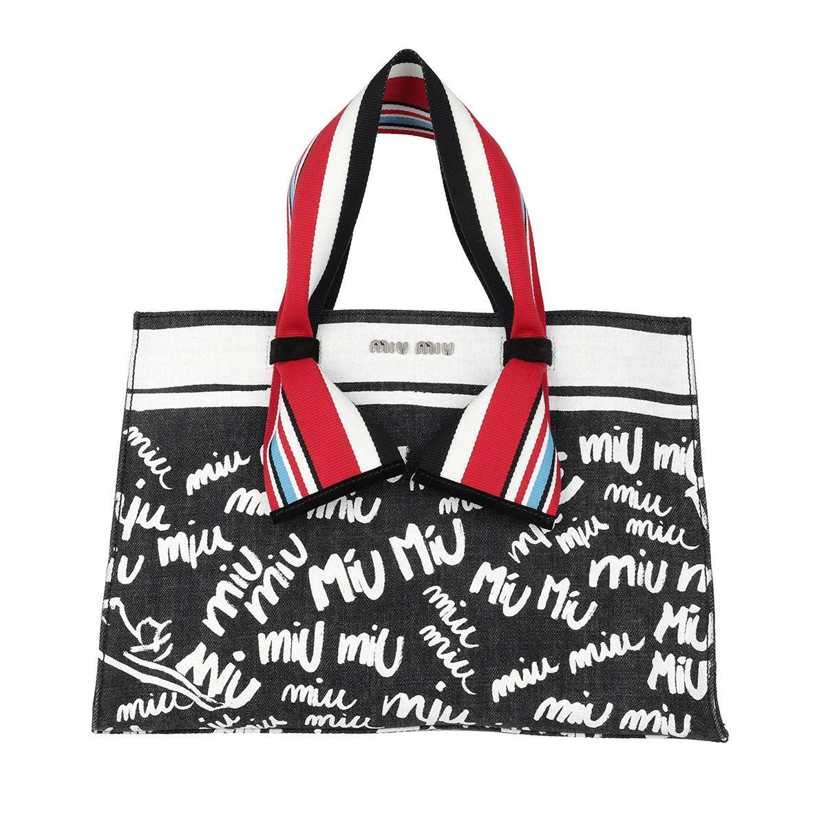 ff21db3271a9 Miu Miu Denim Logo Shopping Bag Nero bianco - Lyst