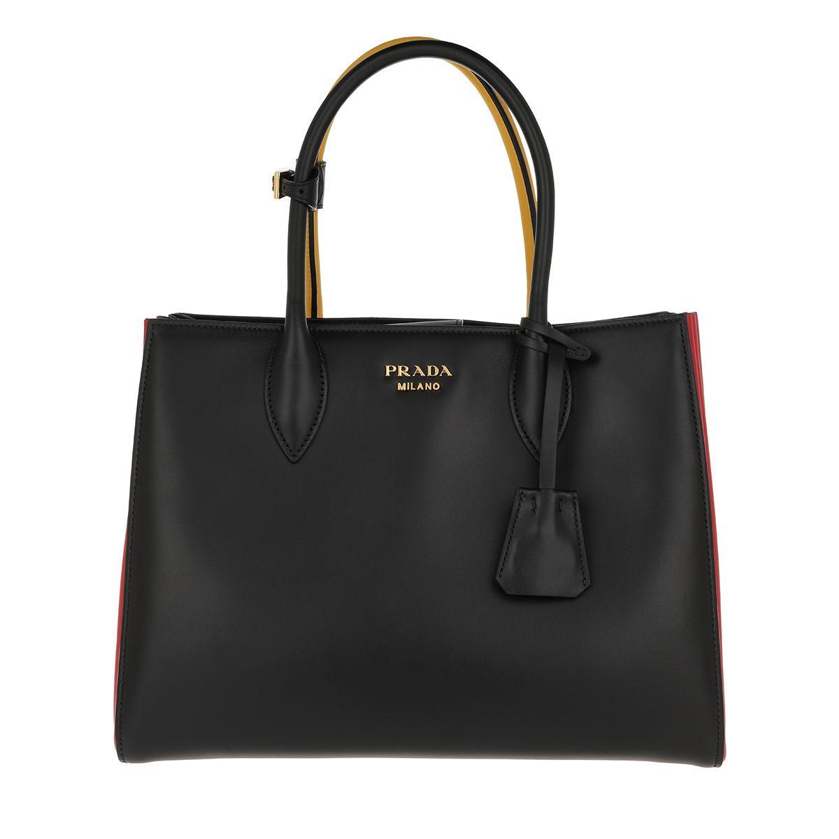 Tote - Shopping Bag City Calf Nero/Soleil - yellow, black - Tote for ladies Prada