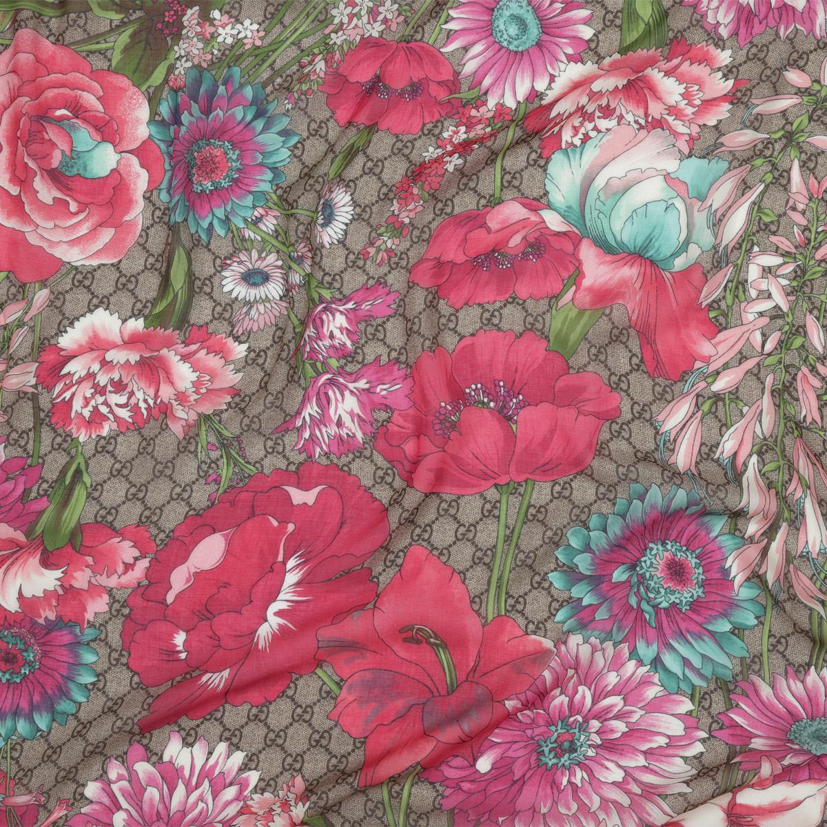 97c95e5ab21 Gucci - Multicolor Flowerprint Silk Scarf Marrone fuchsia - Lyst. View  fullscreen