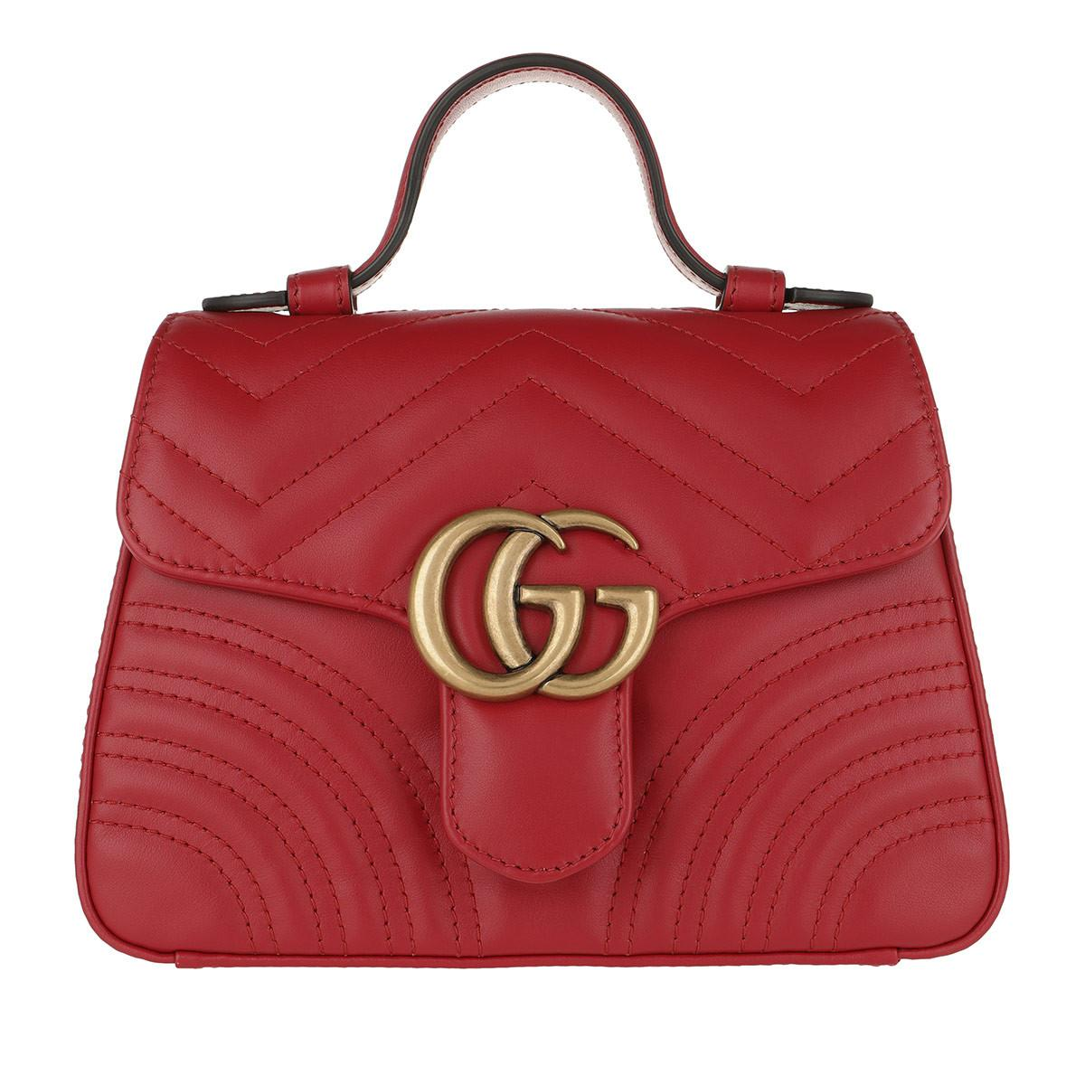 e6e69ef6f79f39 Gucci GG Marmont Mini Top Handle Bag Hibiscus Red in Red - Lyst