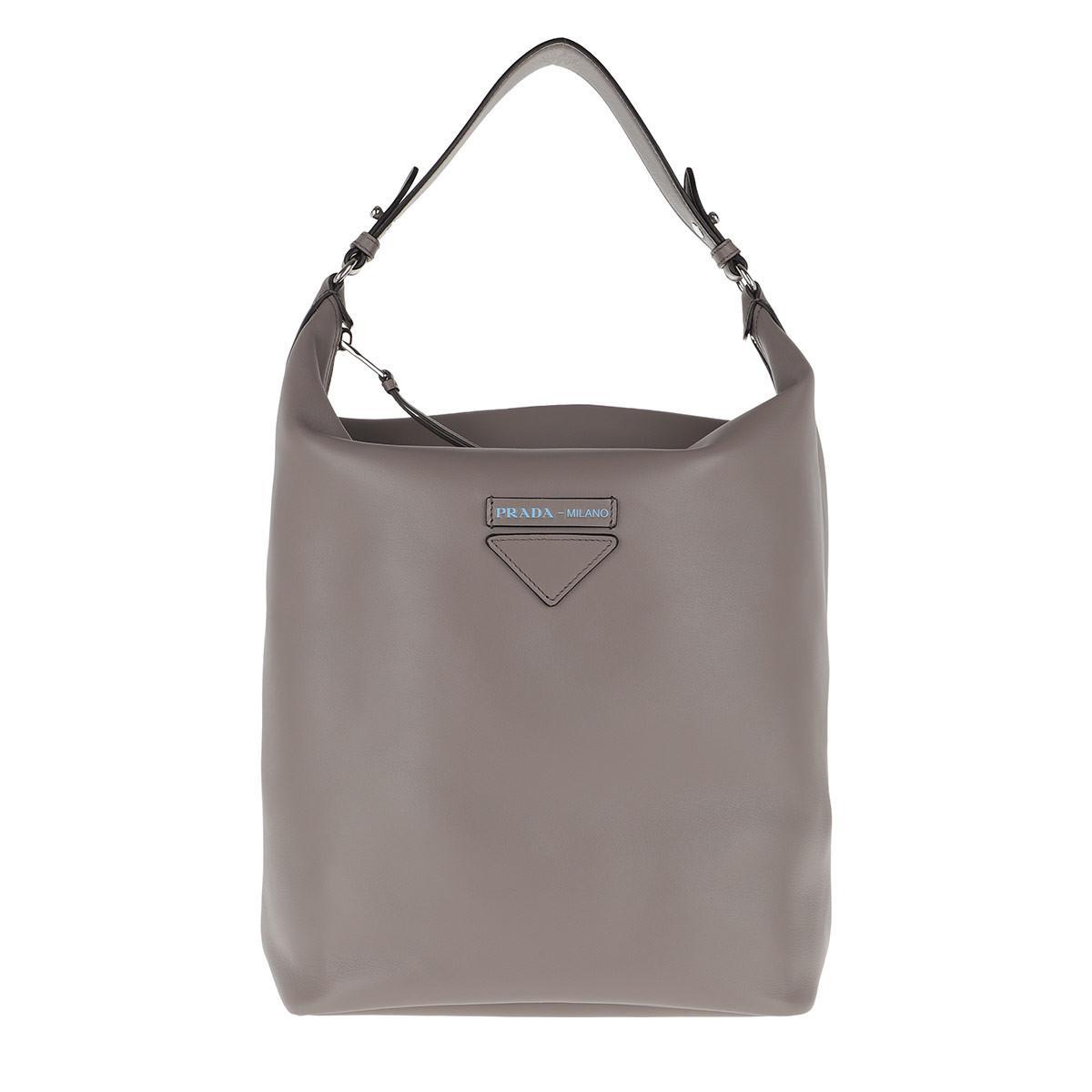 cb109740feef ... sale prada. womens gray etiquette hobo bag leather argilla f344e 80f1d  ...