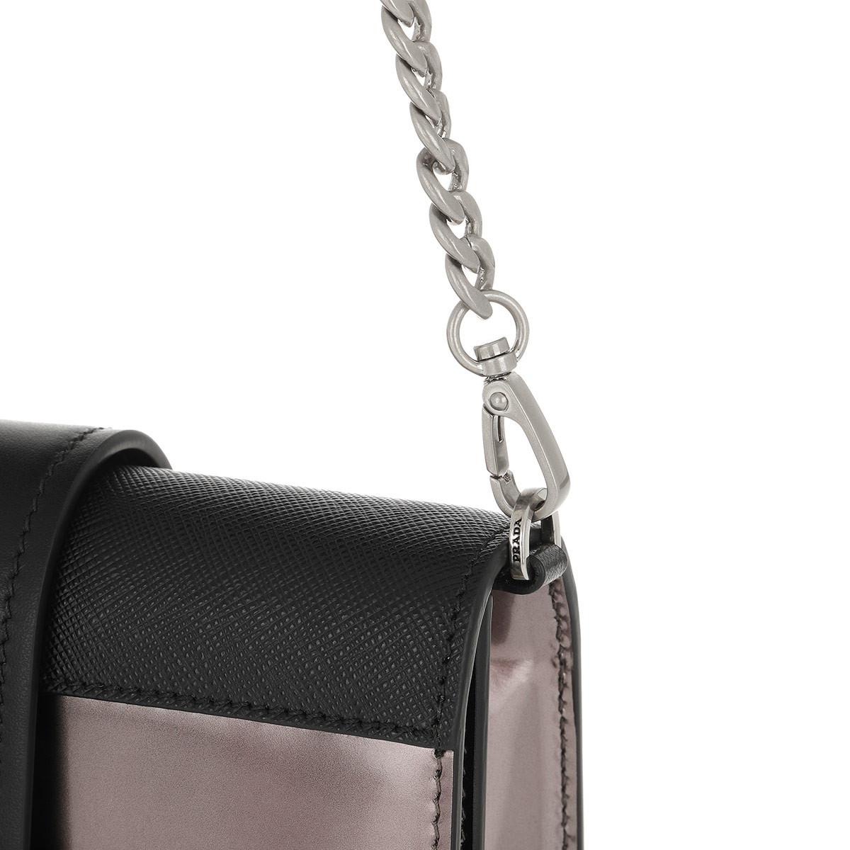 db32084803a8 Prada Cahier Shoulder Bag Metallic Leather Cammeo/nero in Black - Lyst