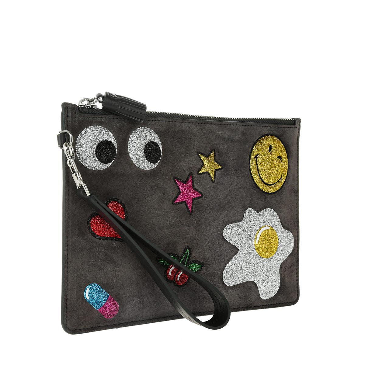 1eafdc2d1aba49 Anya Hindmarch Zip Top Pouch Glitter Stickers Charcoal Suede Lux in ...