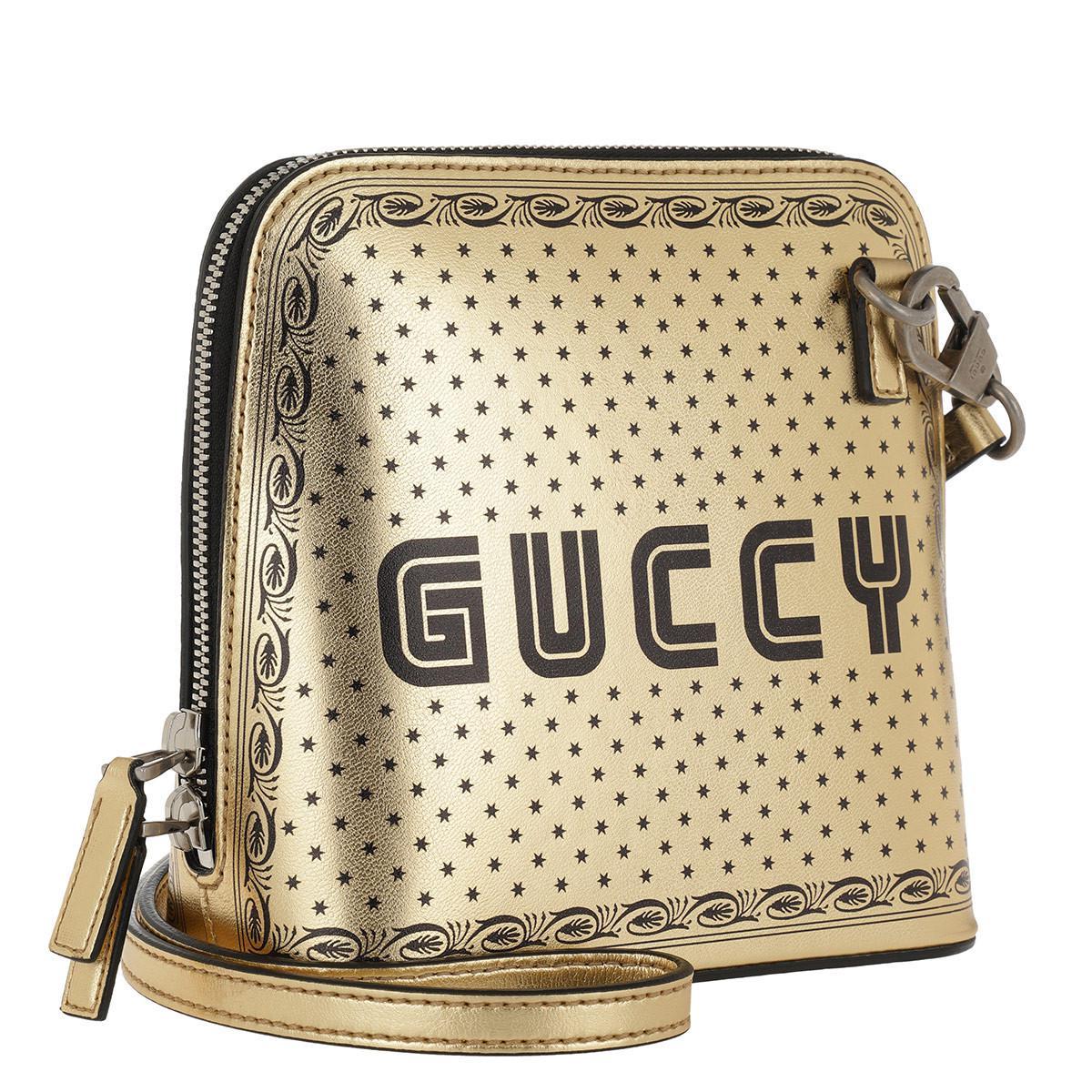 6d69467b2996 Gucci - Metallic Gold-tone Guccy Mini Leather Shoulder Bag - Lyst. View  fullscreen