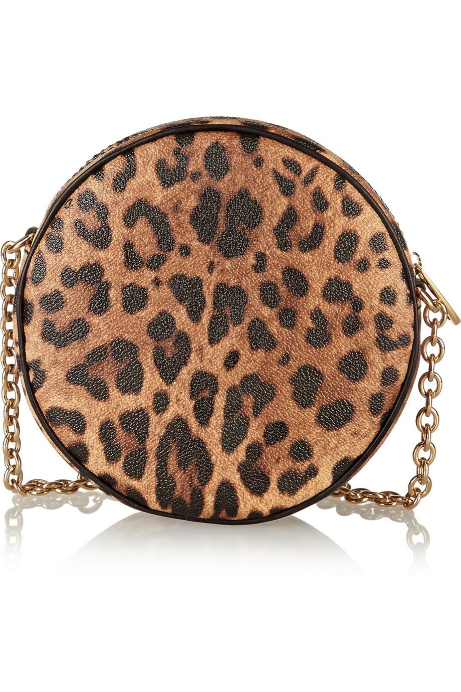 Italian Gold Chain >> Dolce & gabbana Glam Leopard-Print Faux Leather Shoulder ...