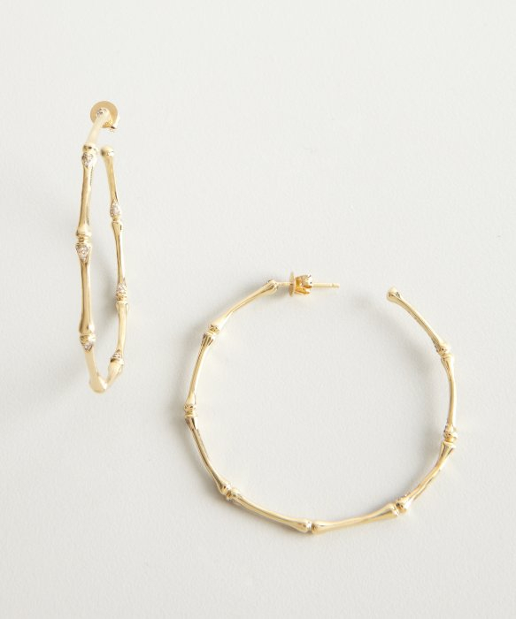 Gold Bamboo Hoop Earrings Uk Image Of Earring