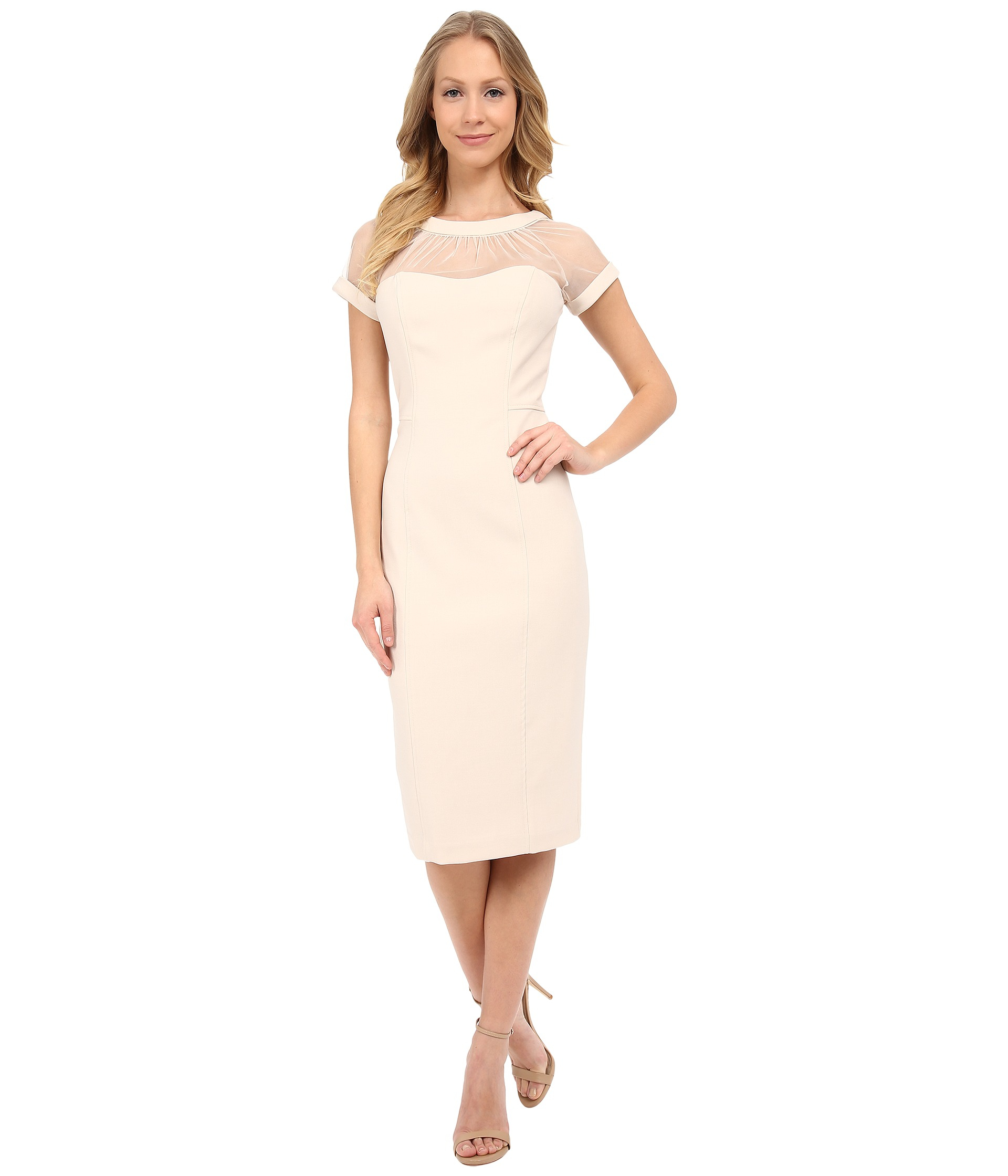 ed5d3206 Maggy London Illusion Top Crepe Dress in Natural - Lyst