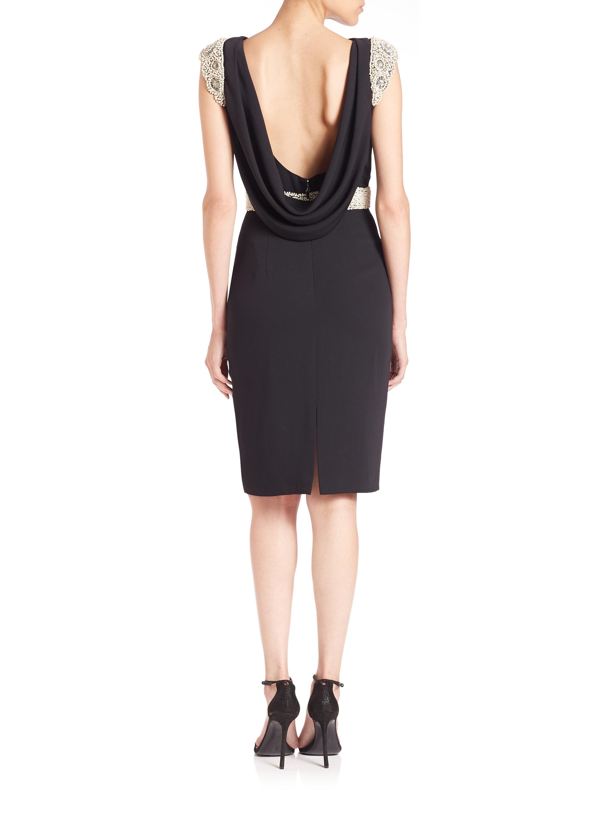 pamella roland beaded crepe draped back dress in black lyst