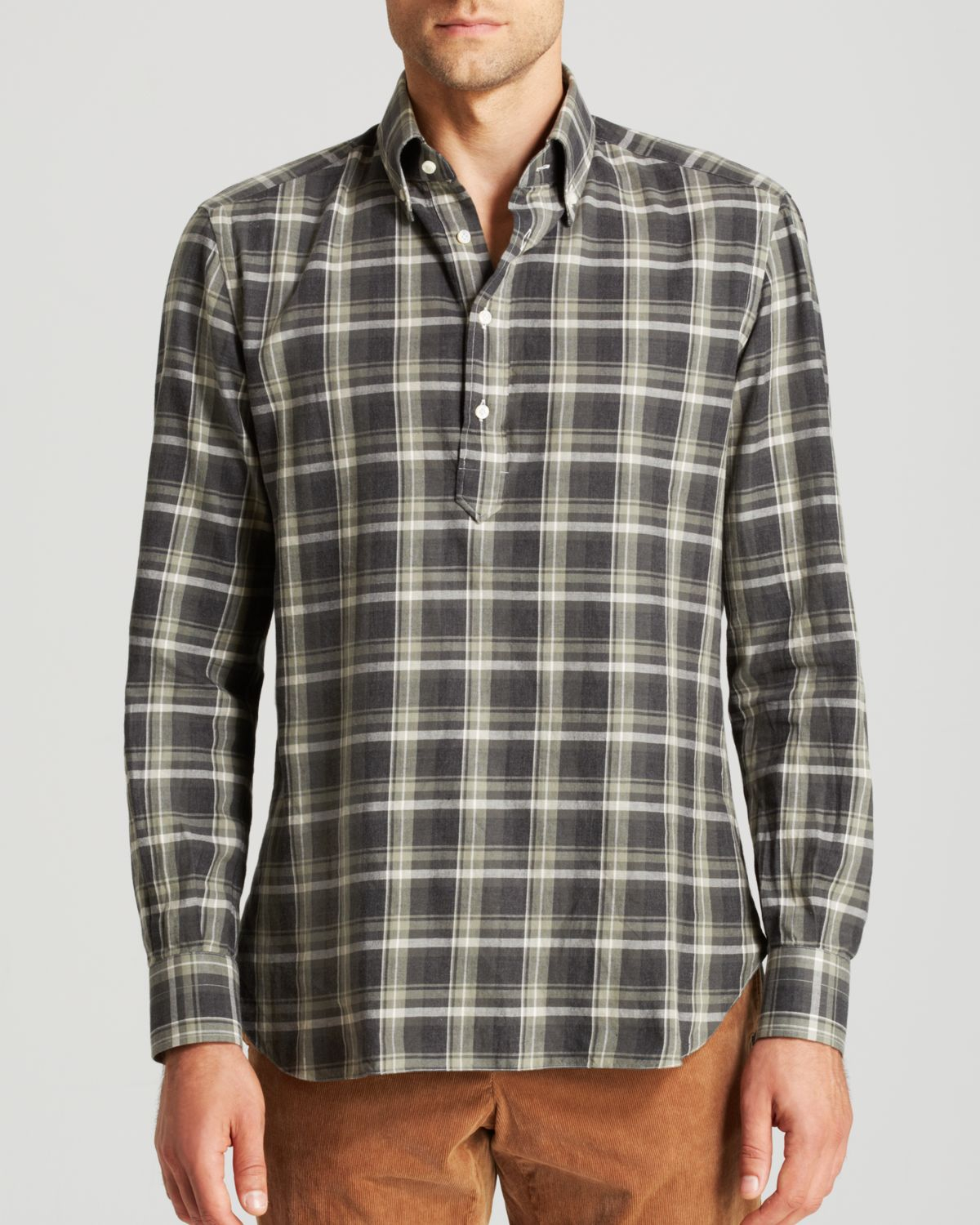 Eidos Aldo Plaid Flannel Half-Button Button Down Shirt in Gray for ...