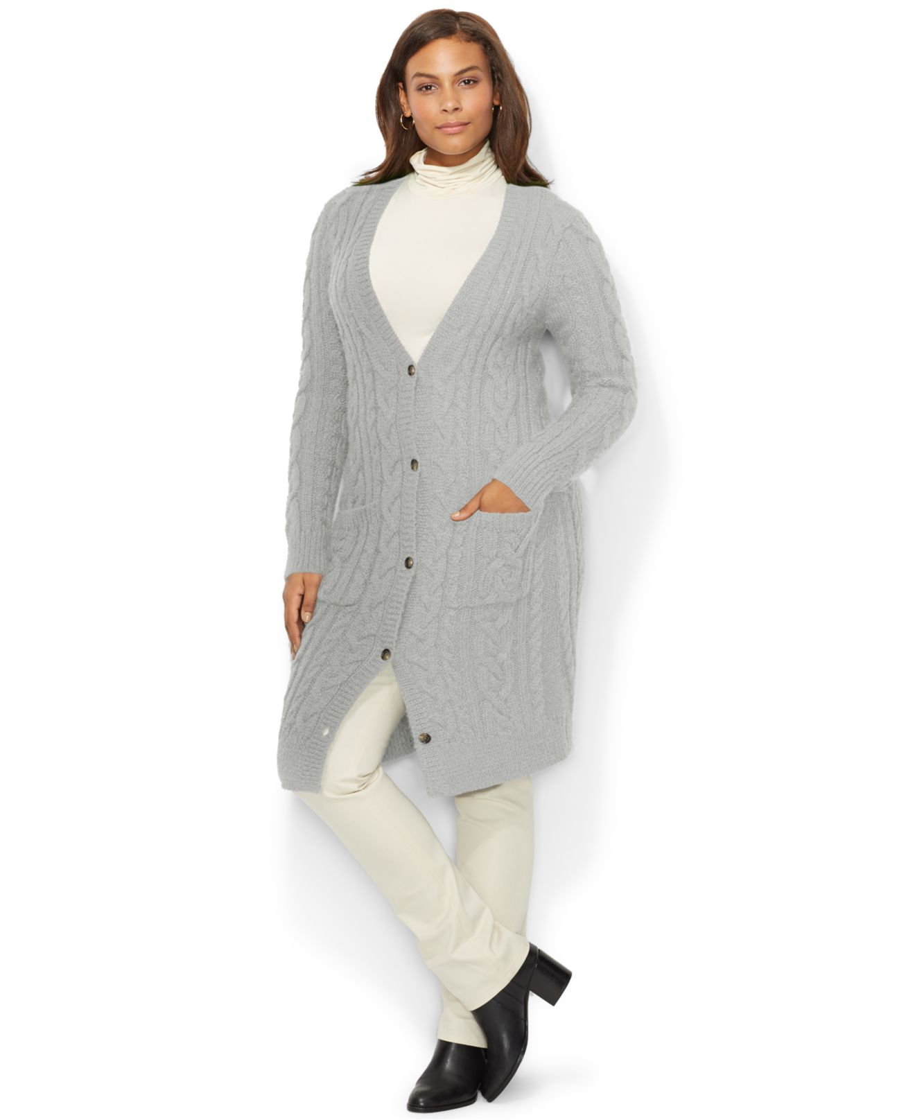 Lauren by ralph lauren Plus Size Cable-Knit Sweater Coat in Gray ...