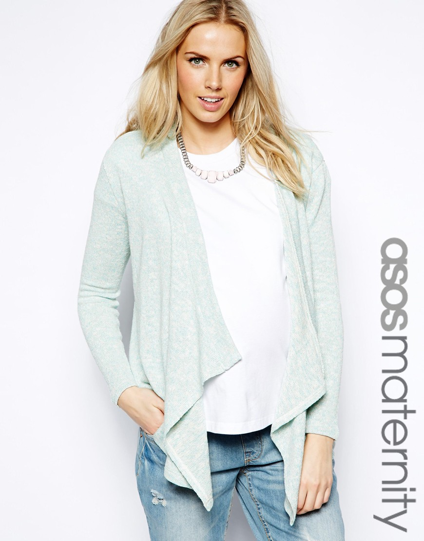 Asos Exclusive Waterfall Cardigan in Cut and Sew Pastel in Green ...