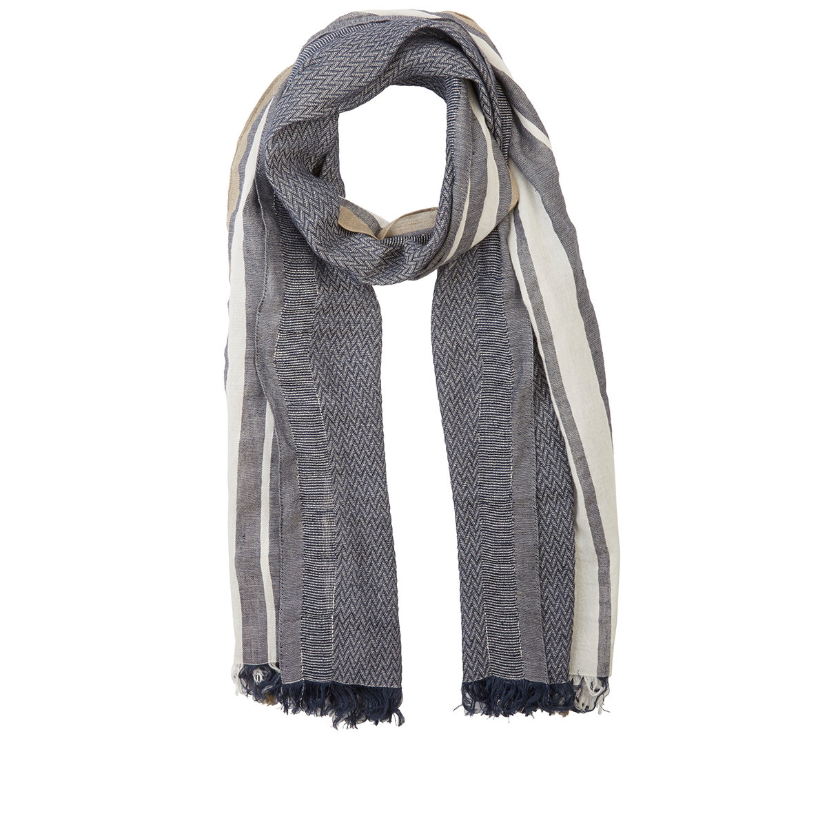 barneys new york s zigzag striped scarf in gray for