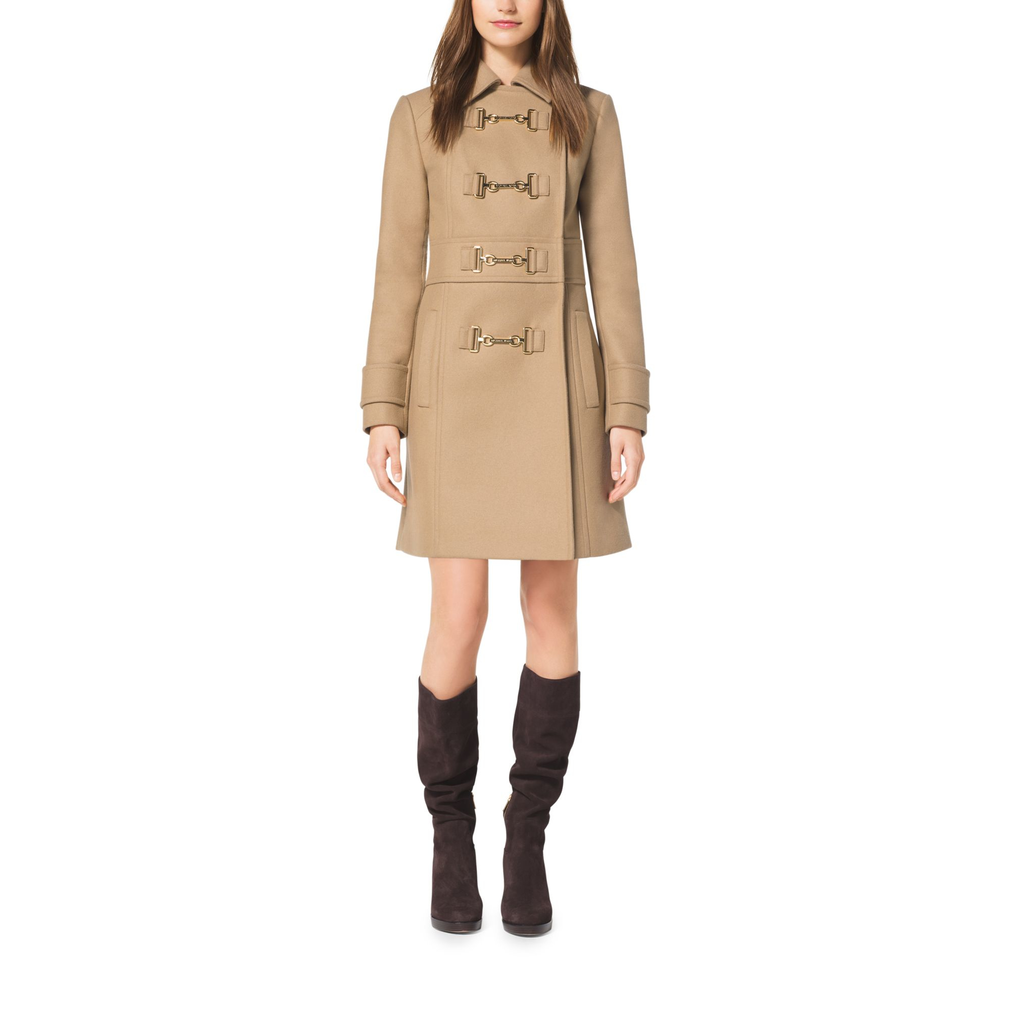 Michael kors Wool-melton Duffle Coat in Natural | Lyst