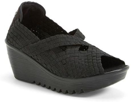 bernie mev black calypso woven platform wedge sandal