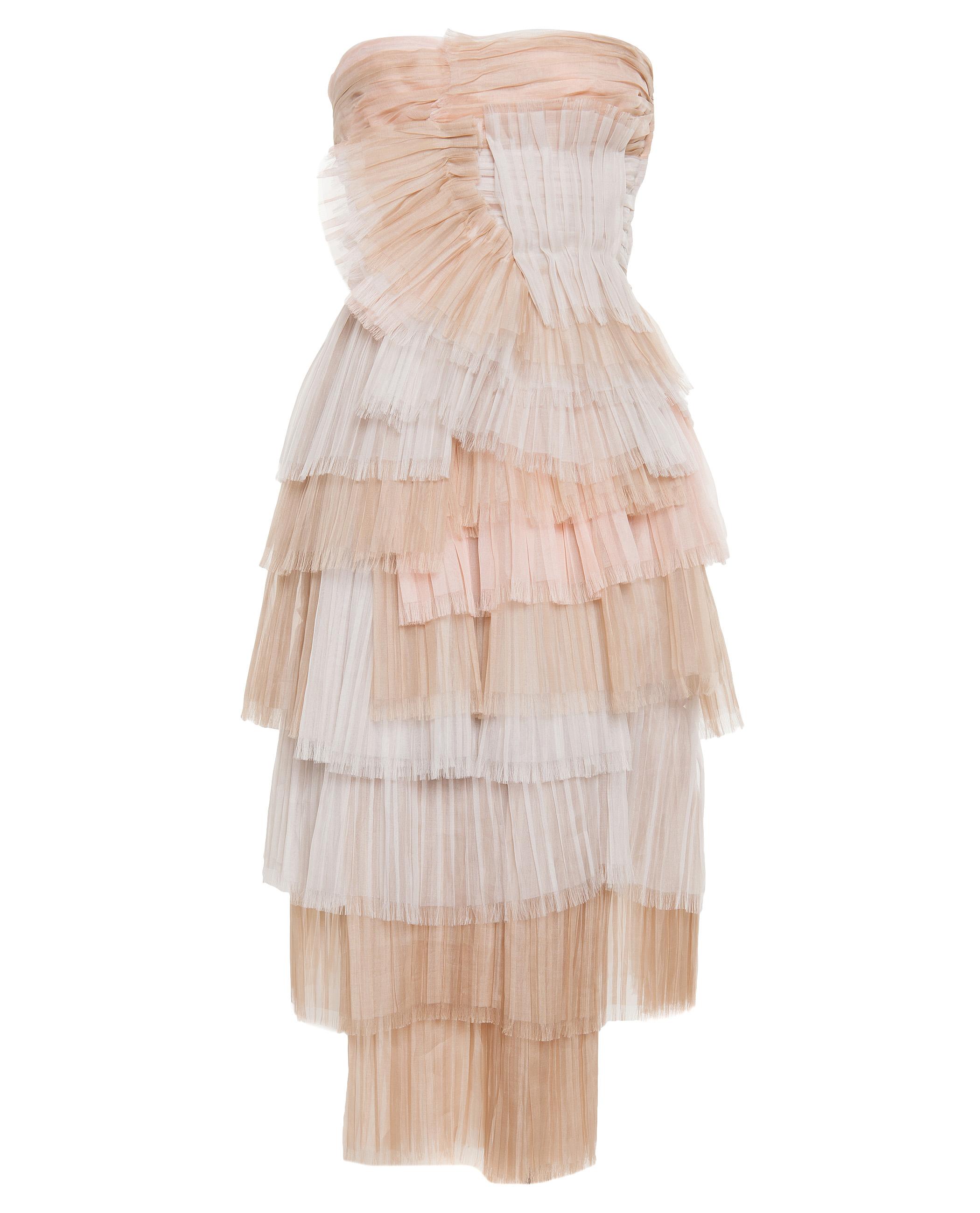 Burberry prorsum Layered Silk Bustier Dress in Pink - Lyst
