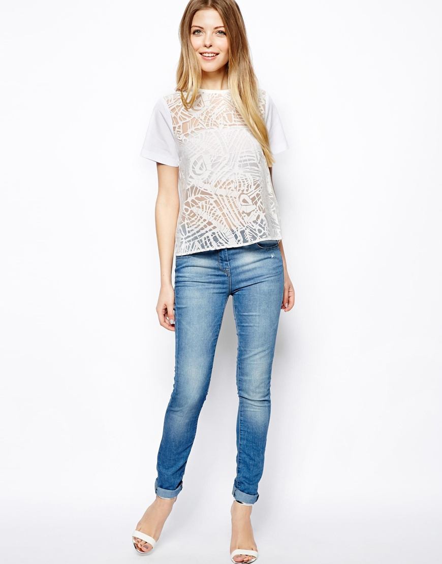 72804035f4e79b Lyst - ASOS Exclusive Top in Abstract Burnout in White