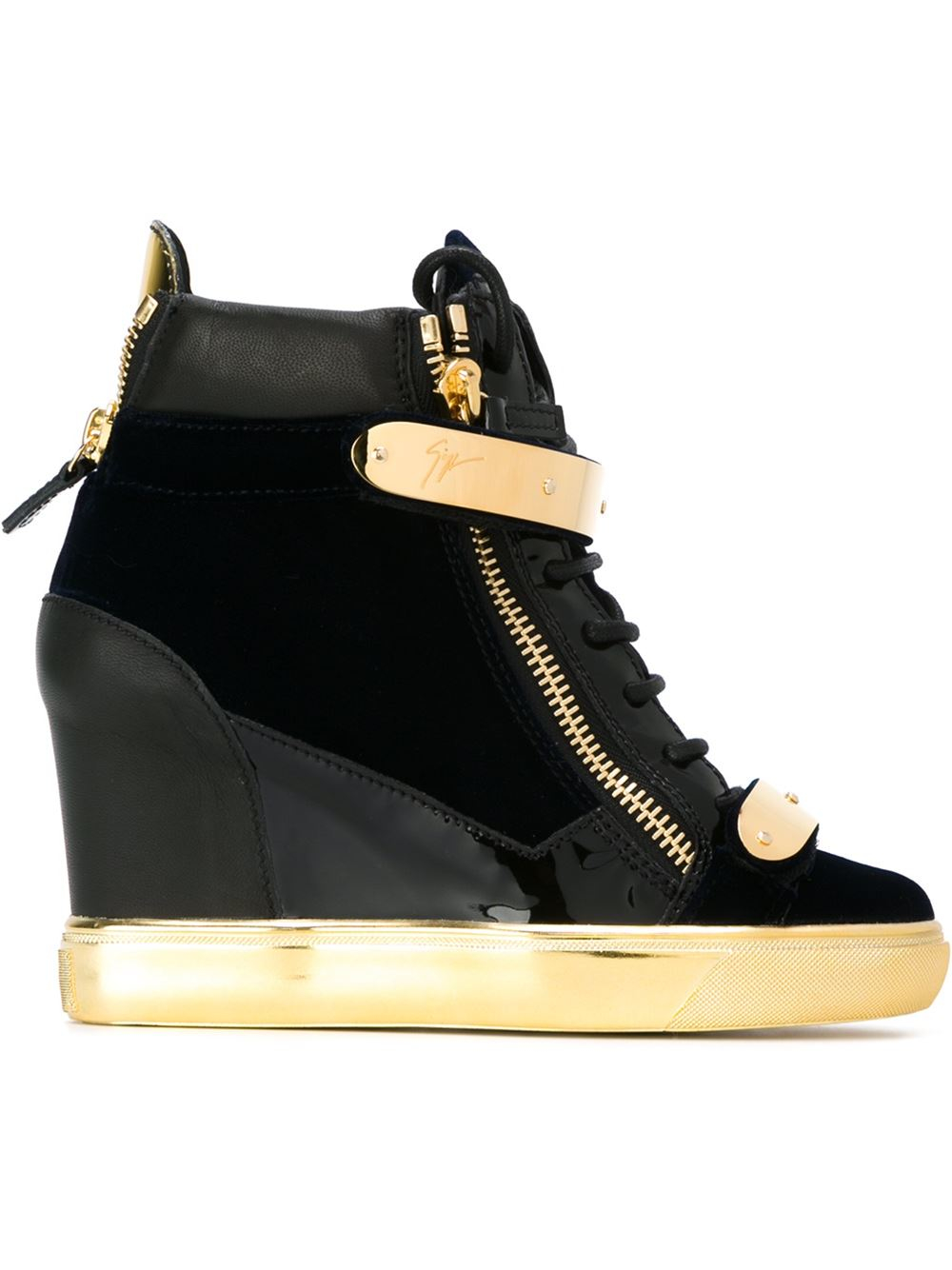 giuseppe zanotti 39 coby 39 wedge hi top sneakers in gold blue lyst. Black Bedroom Furniture Sets. Home Design Ideas