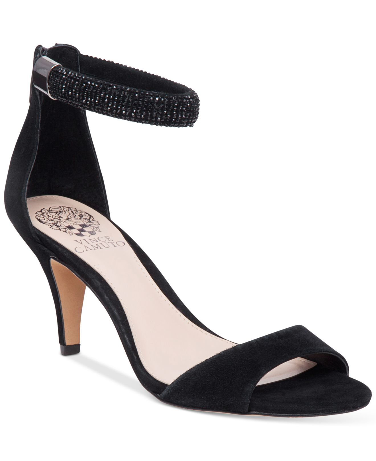 Vince camuto Mistin Suede Dress Sandals in Black - Lyst