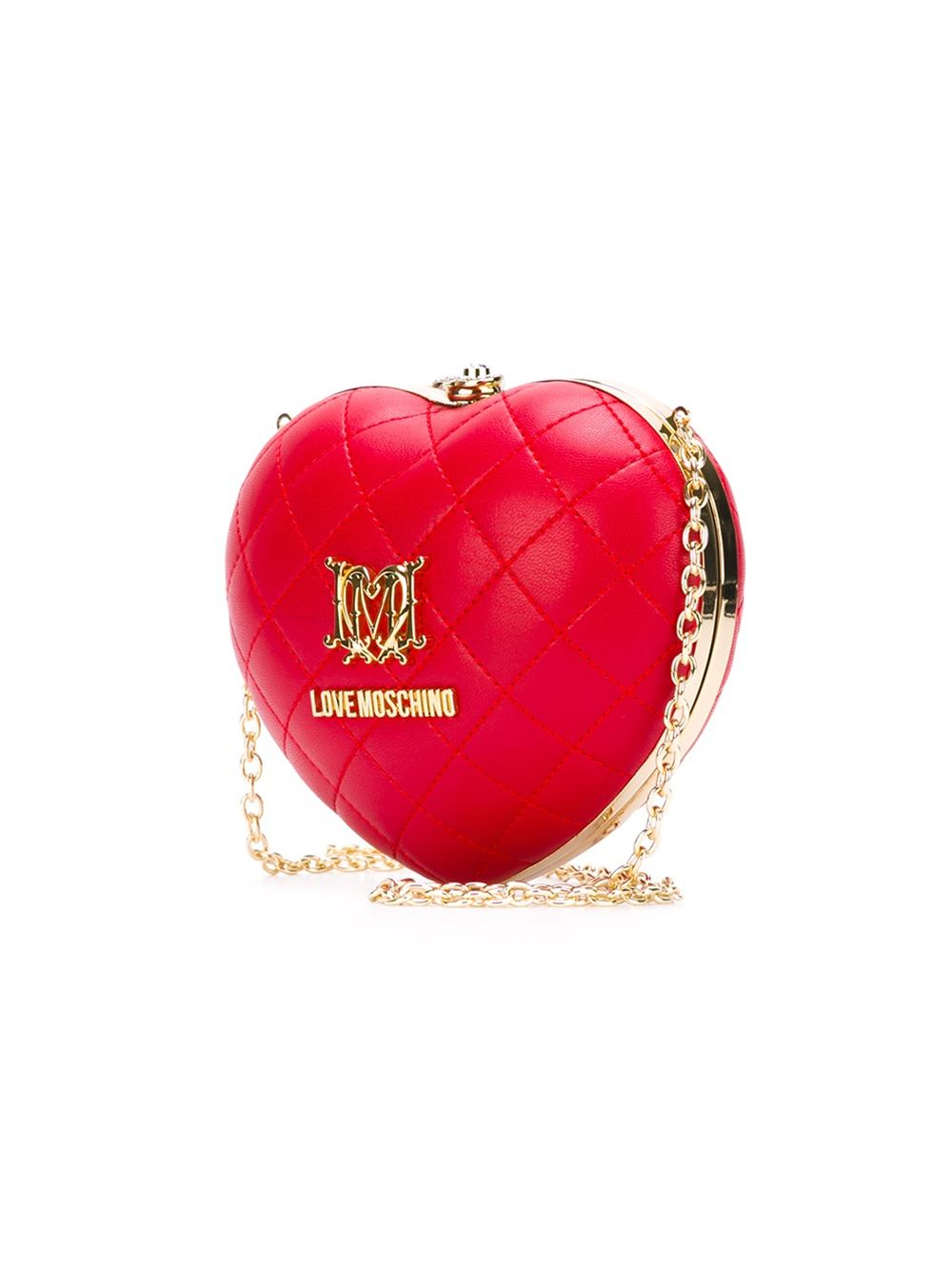 Lyst Love Moschino Quilted Heart Clutch In Metallic