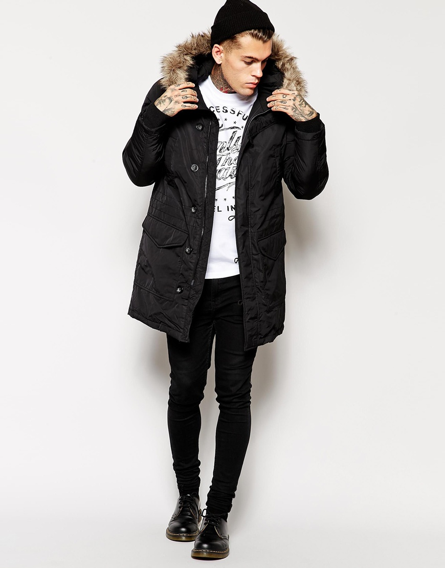 Diesel Kirton Parka Coat With Faux Fur Hood in Black for Men | Lyst