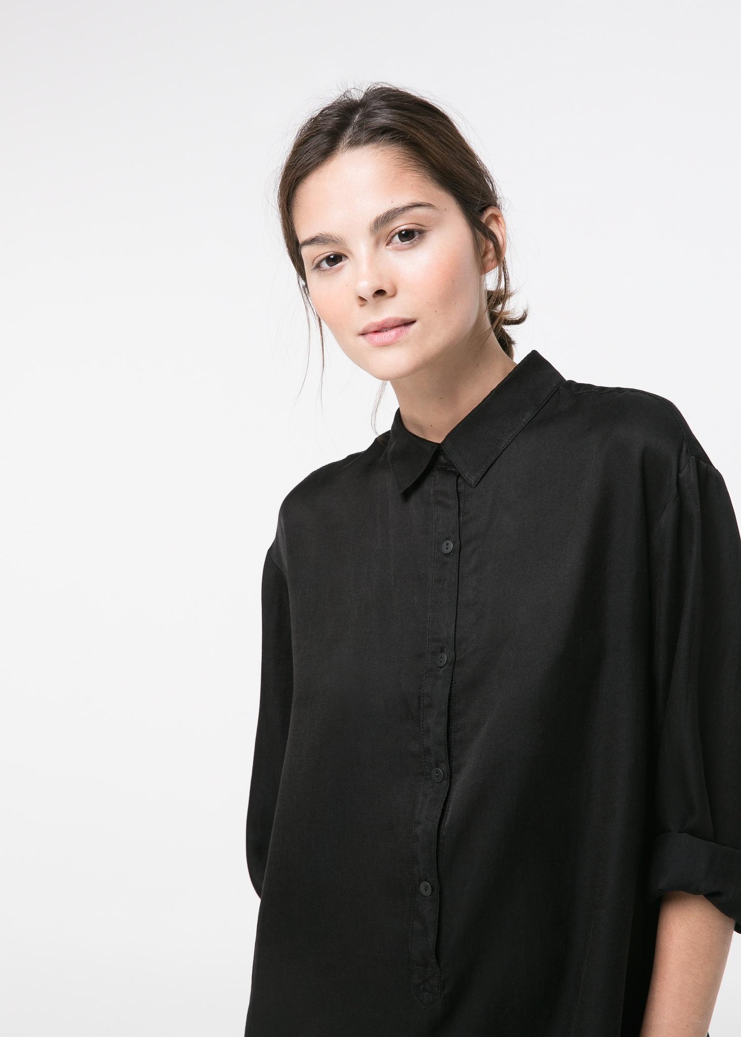 Mango Silk-Blend Shirt Jumpsuit in Black   Lyst