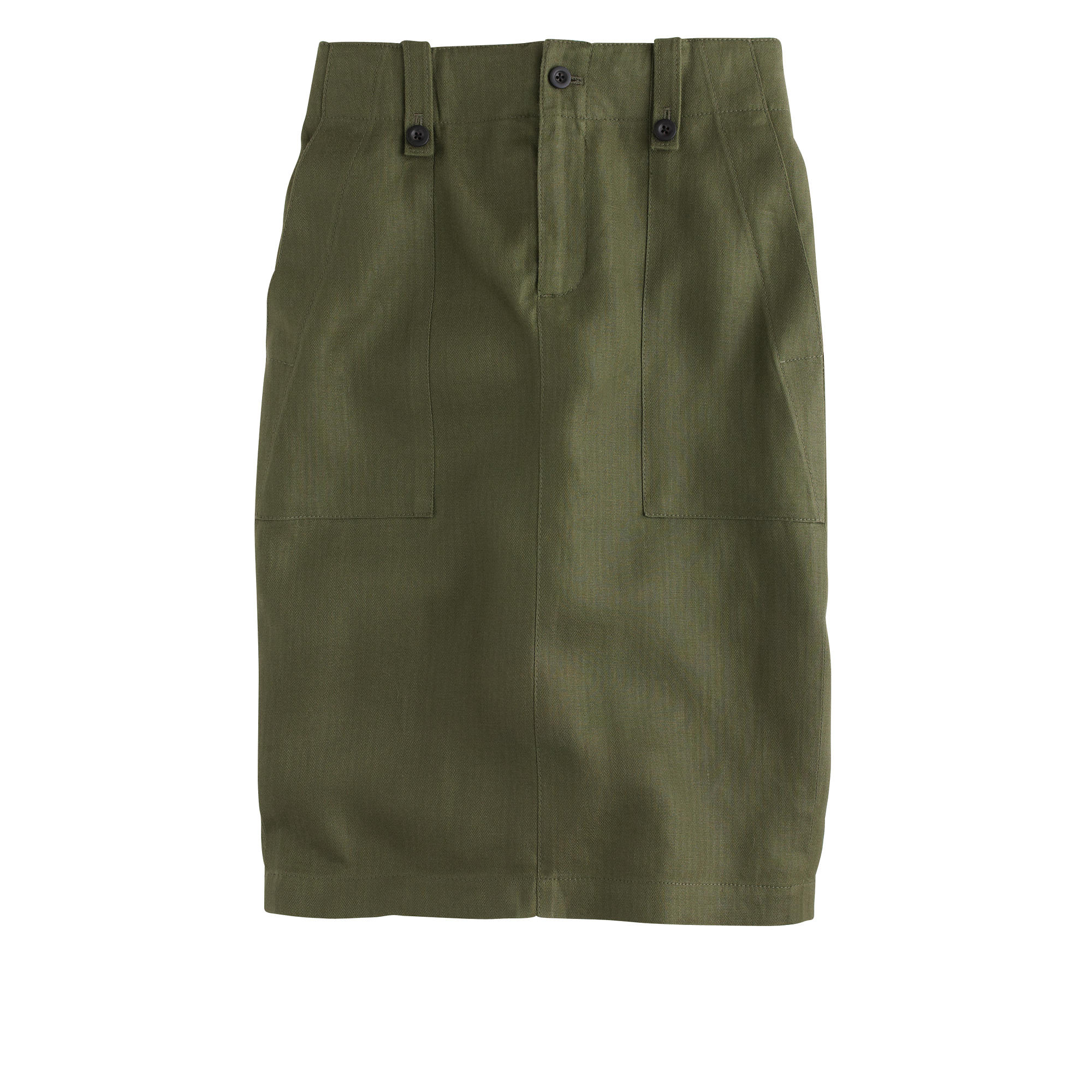 J Crew Petite Linen Cargo Pencil Skirt In Green Olive Lyst