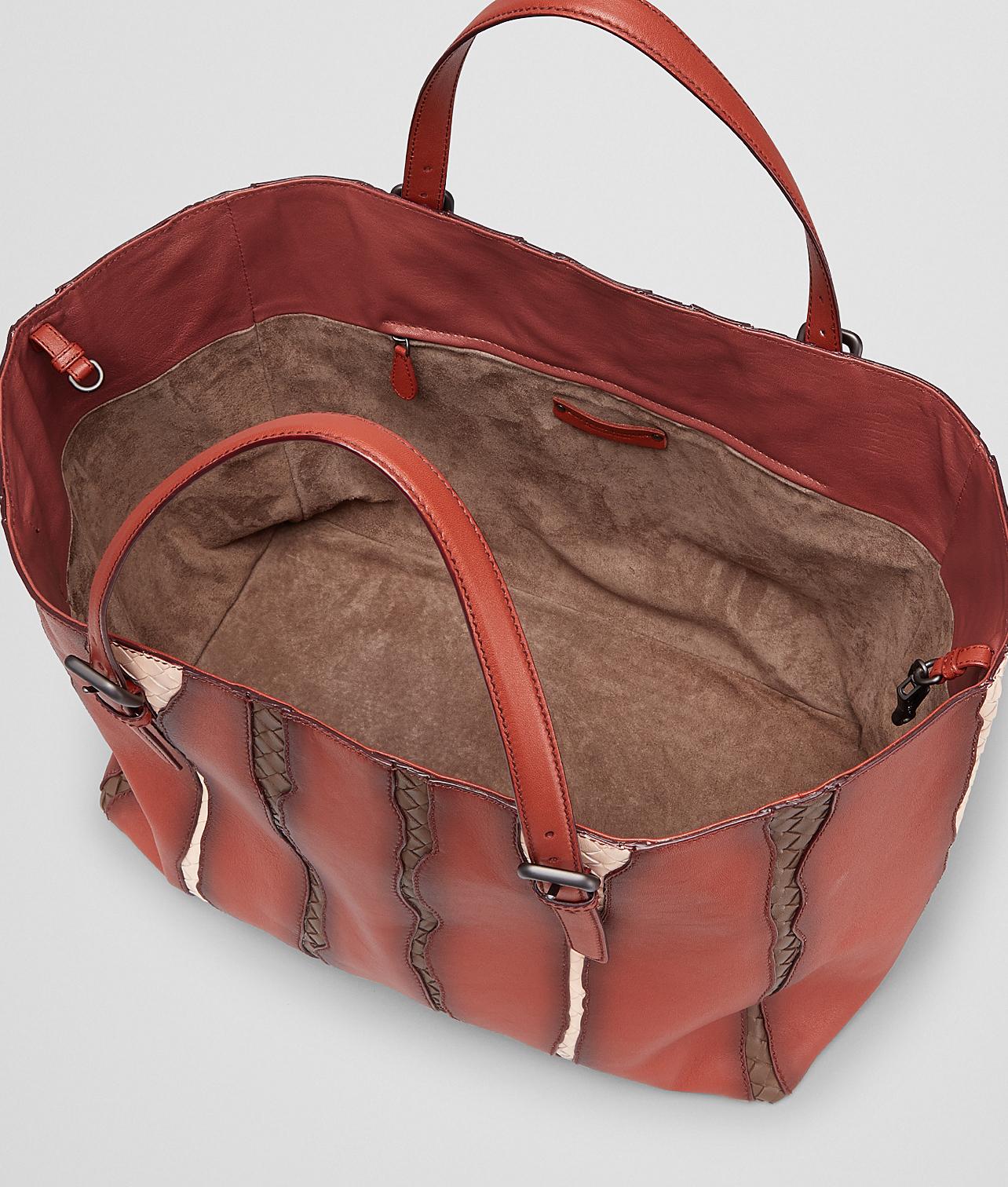 a60ac3b98 Bottega Veneta Burnt Red Washed Nappa Intrecciato Glimmer Tote Bag ...