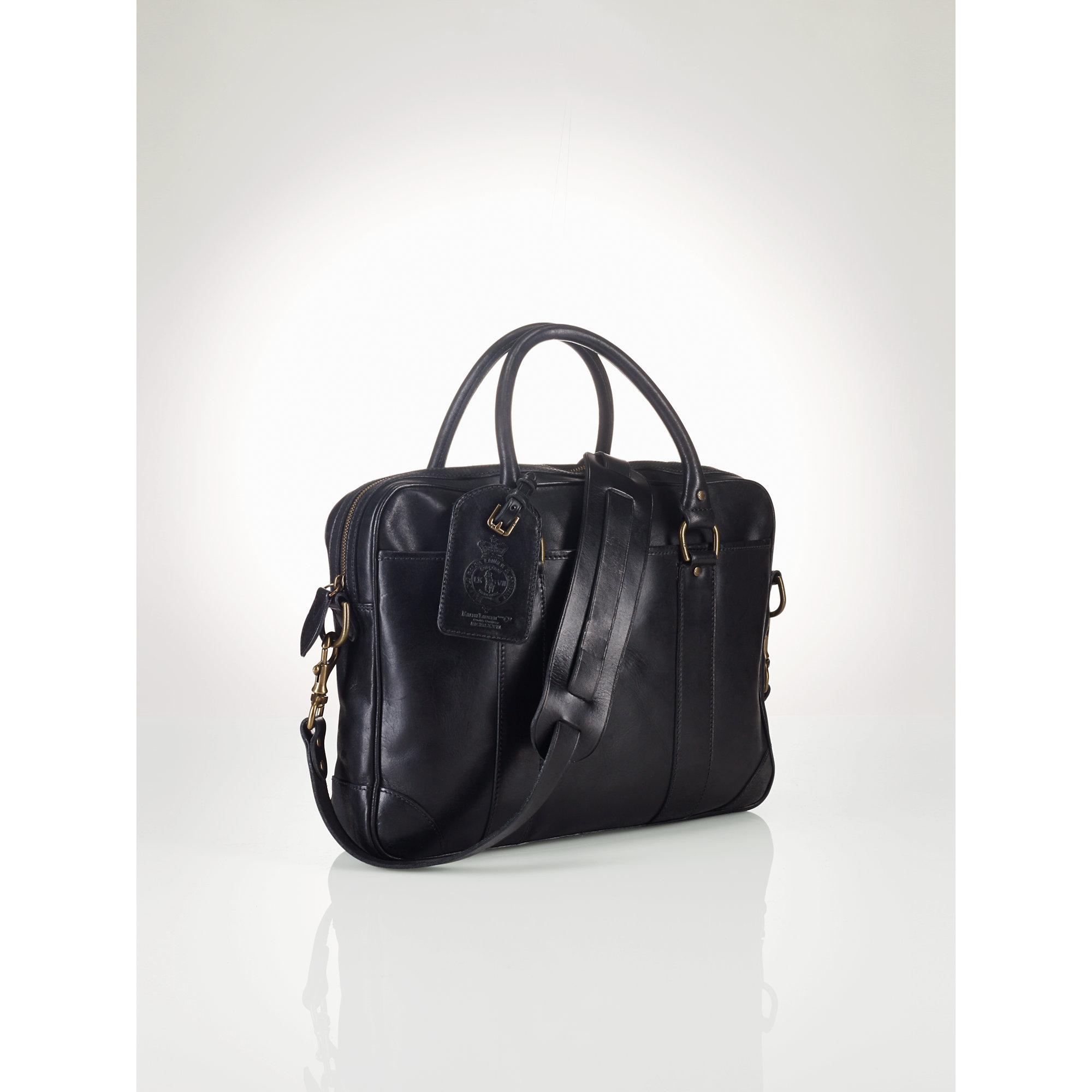 8167b15de159 Lyst - Polo Ralph Lauren Soft Leather Briefcase in Black for Men